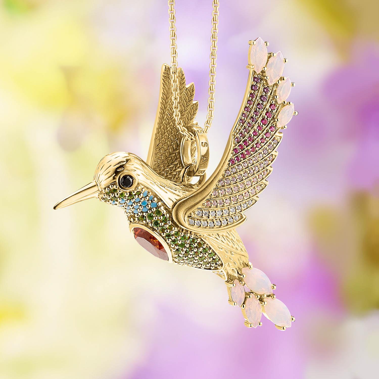Pendentif colibri multicolore or ,Thomas Sabo
