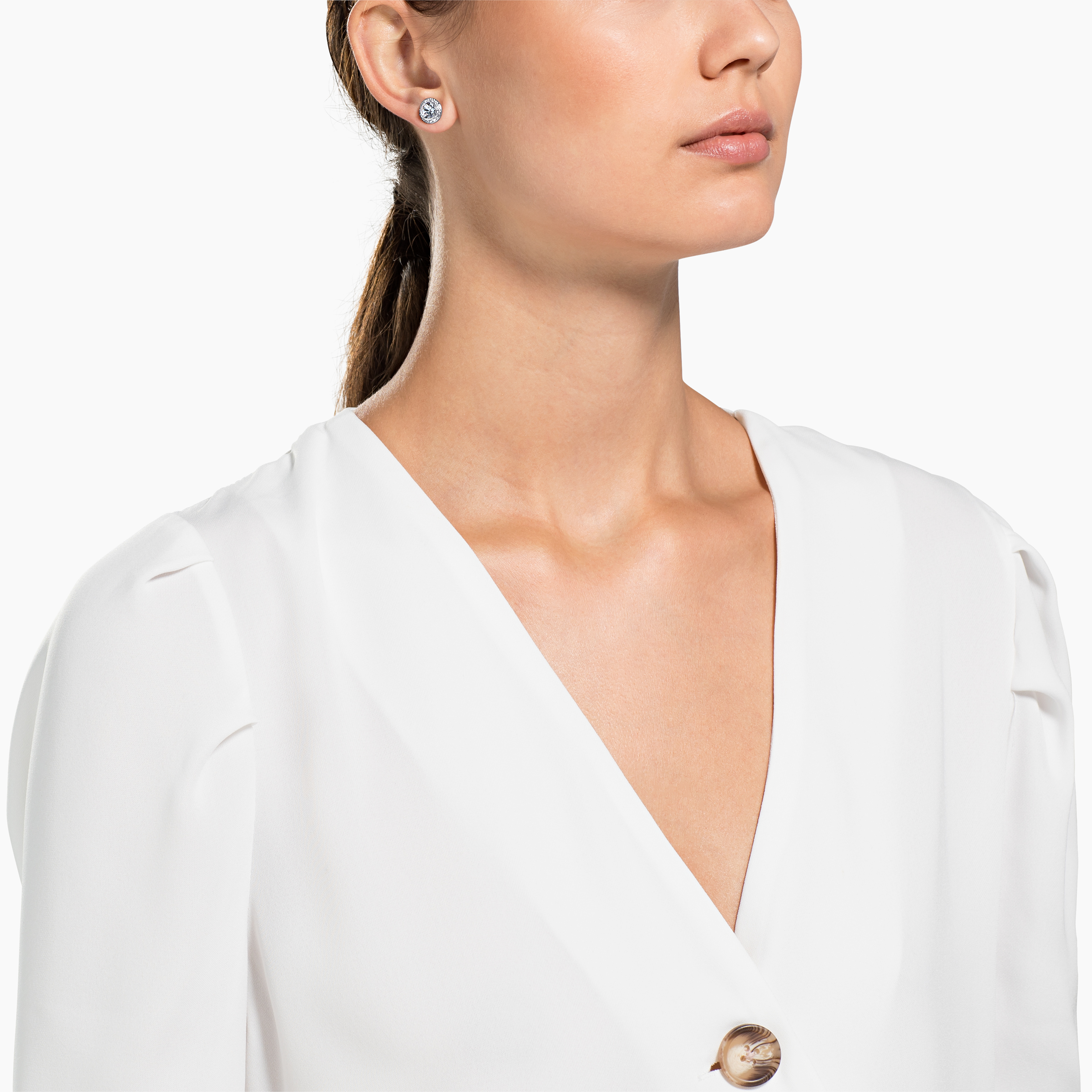 Boucles d'oreilles Angelic, blanc, Métal rhodié, Swarovski
