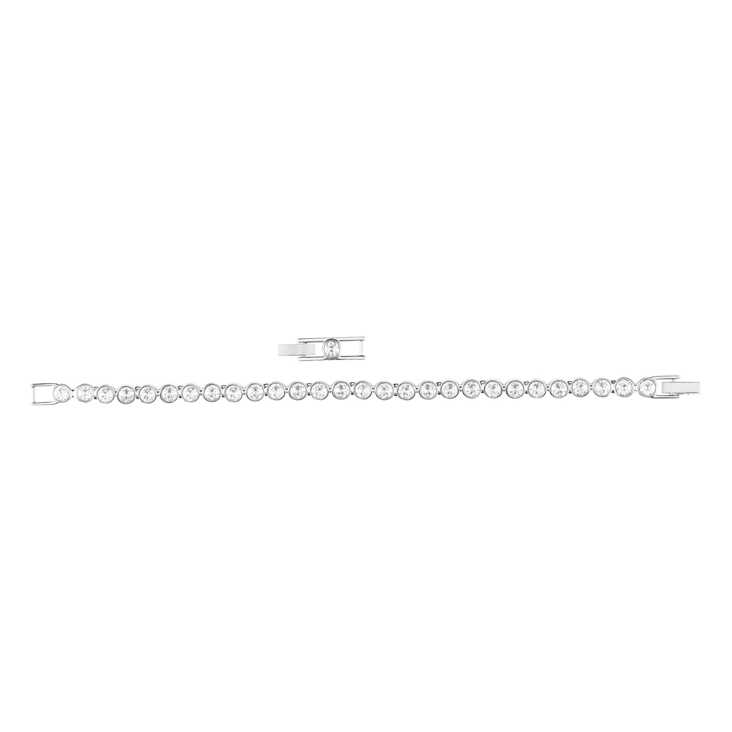 Bracelet Tennis, blanc, Métal rhodié Swarovski