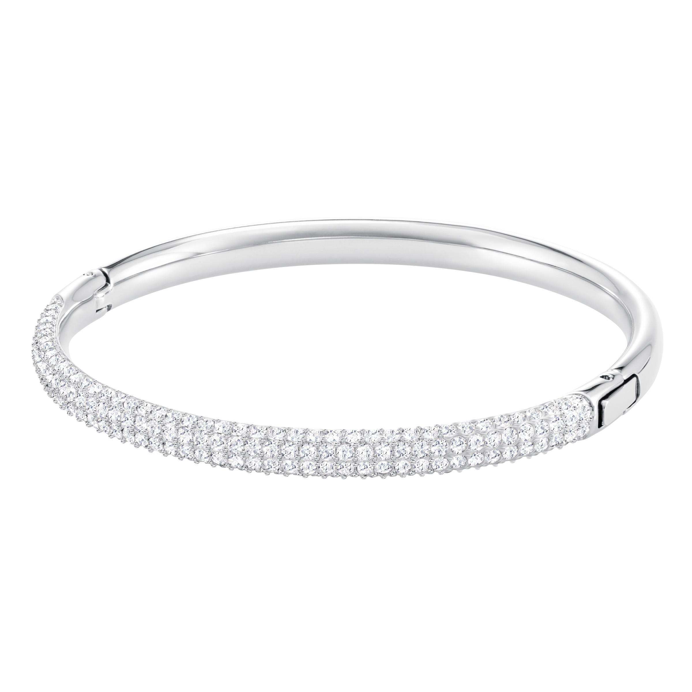Bracelet-jonc Stone, blanc, métal rhodié, Swarovski