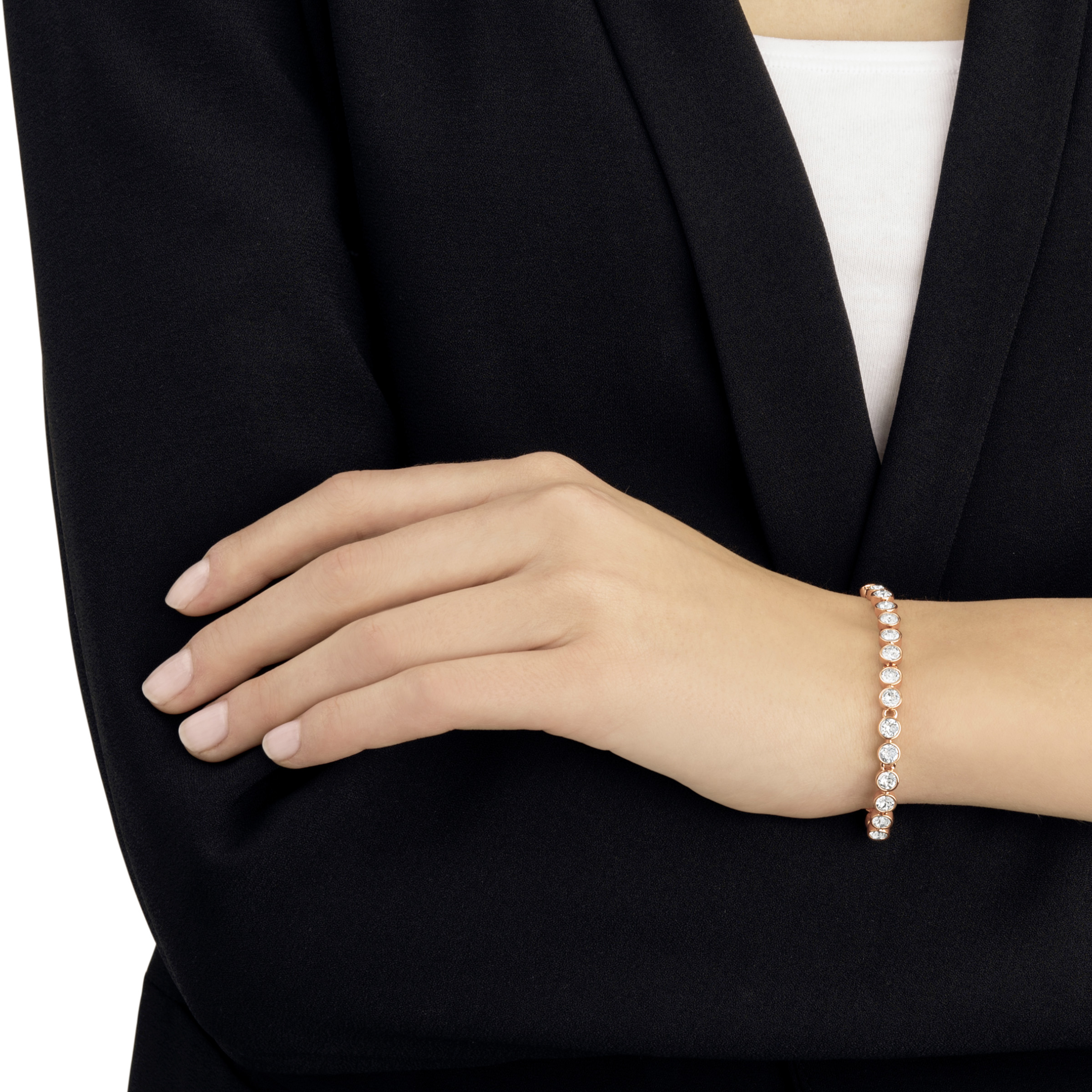 Bracelet Tennis, blanc, Métal doré rose, Swarovski