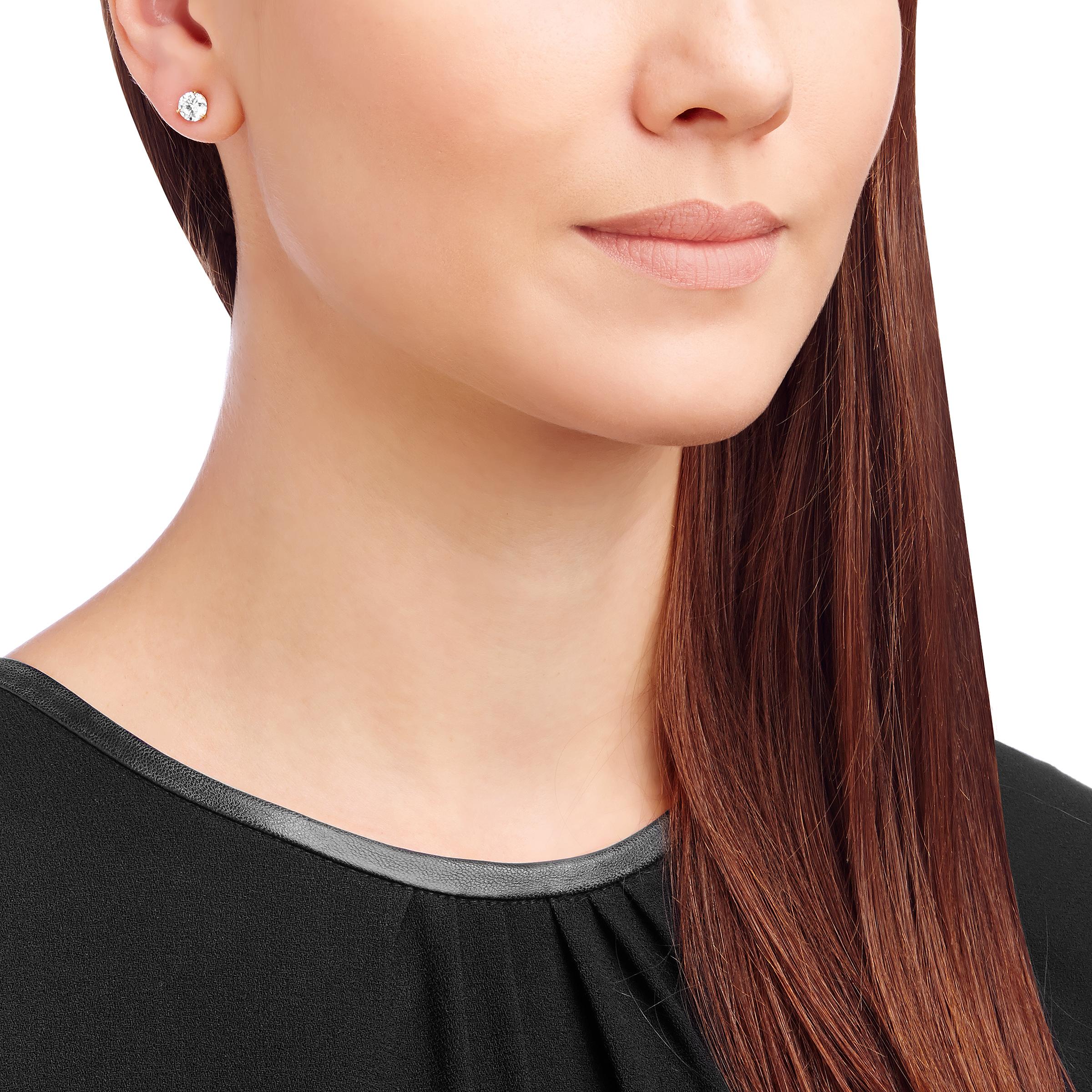 Boucles d'oreilles Solitaire, blanc, Métal doré rose, Swarovski
