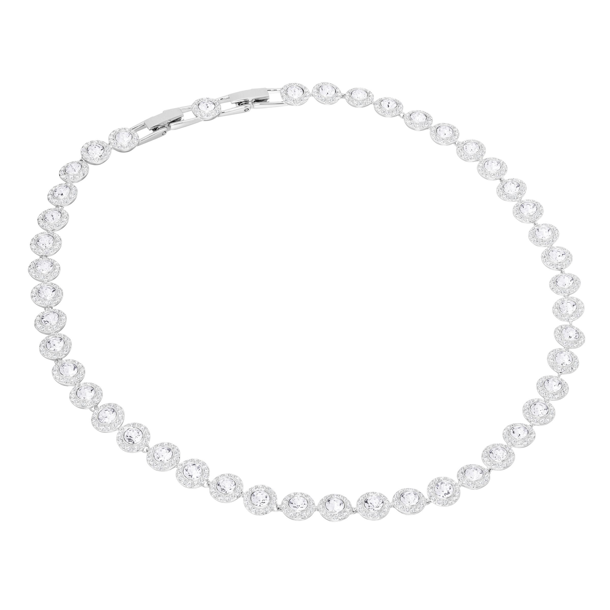 Collier Angelic, blanc, Métal rhodié, Swarovski