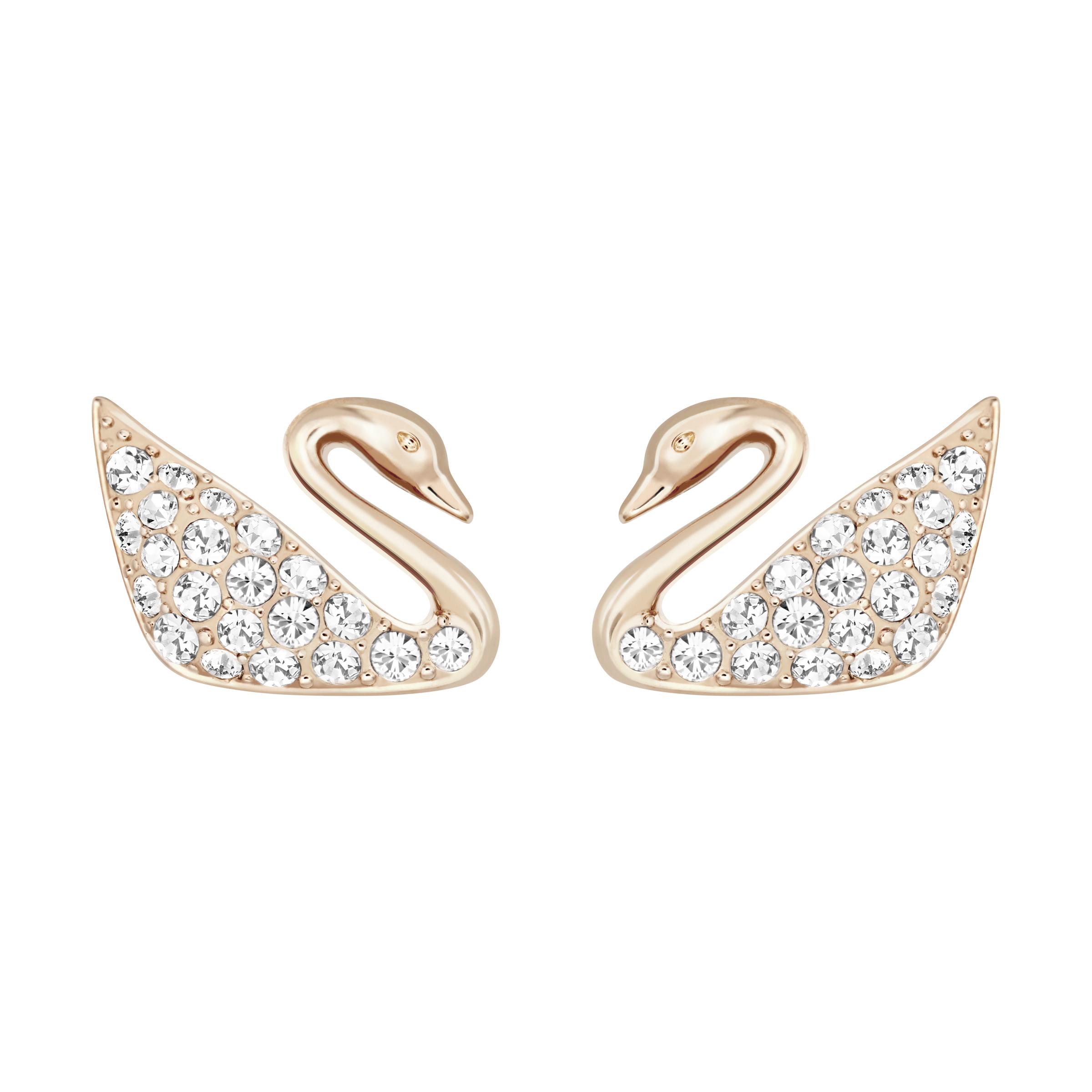 Boucles d'oreilles Swan, blanc, Métal doré rose, Swarovski