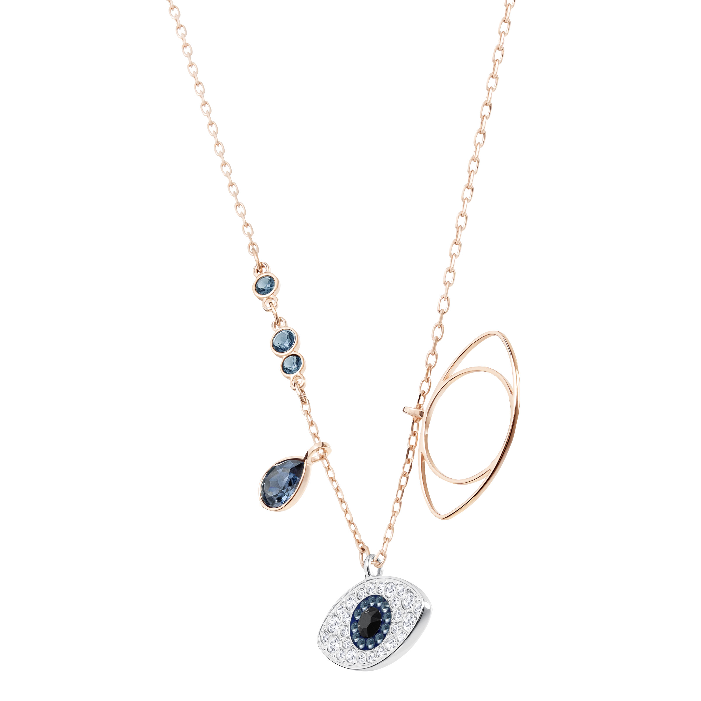 Pendentif Swarovski Symbolic Evil Eye, bleu, Finition mix de métal Swarovski