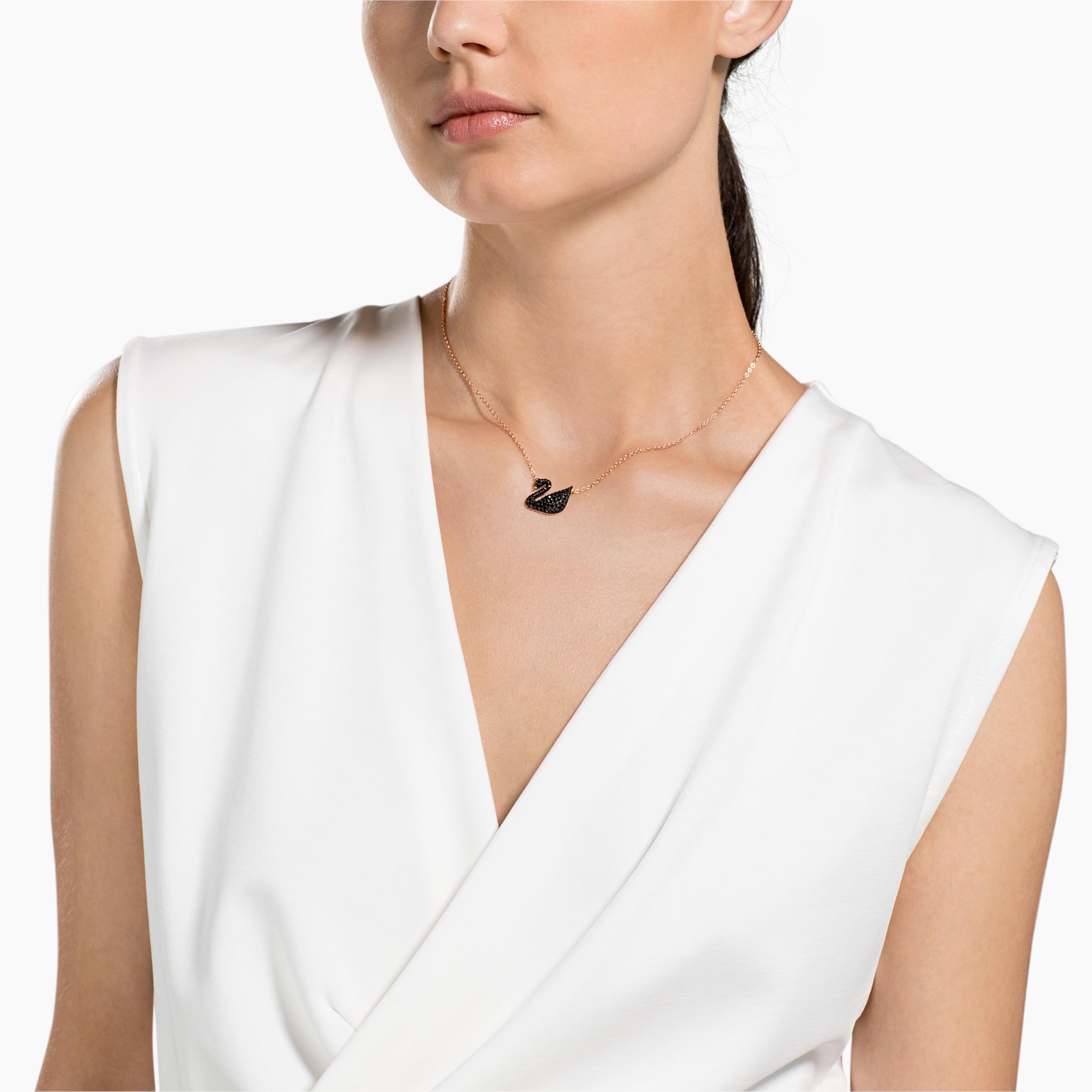 Pendentif Swarovski Iconic Swan, noir, Métal doré rose Swarovski