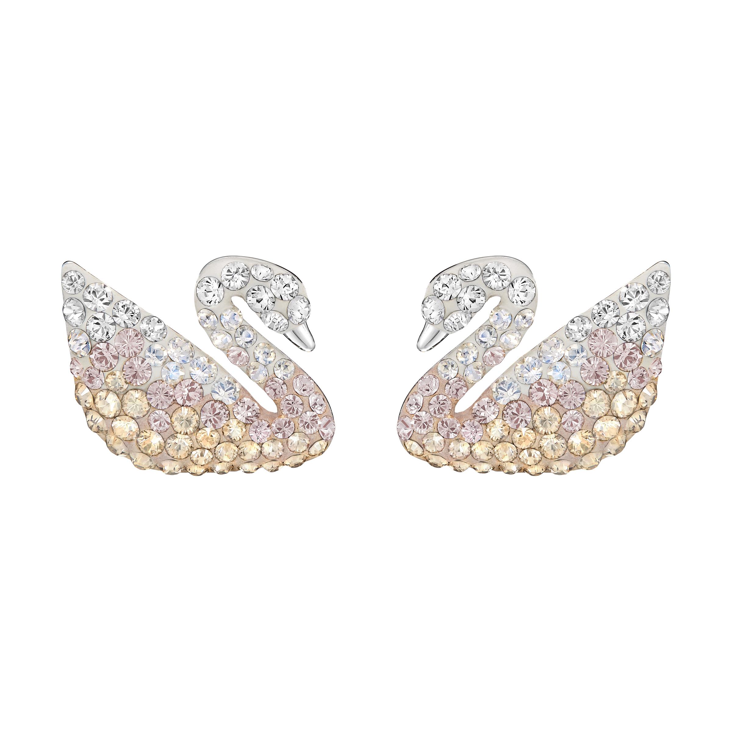 Boucles d'oreilles Swarovski Iconic Swan, multicolore, Métal rhodié, Swarovski