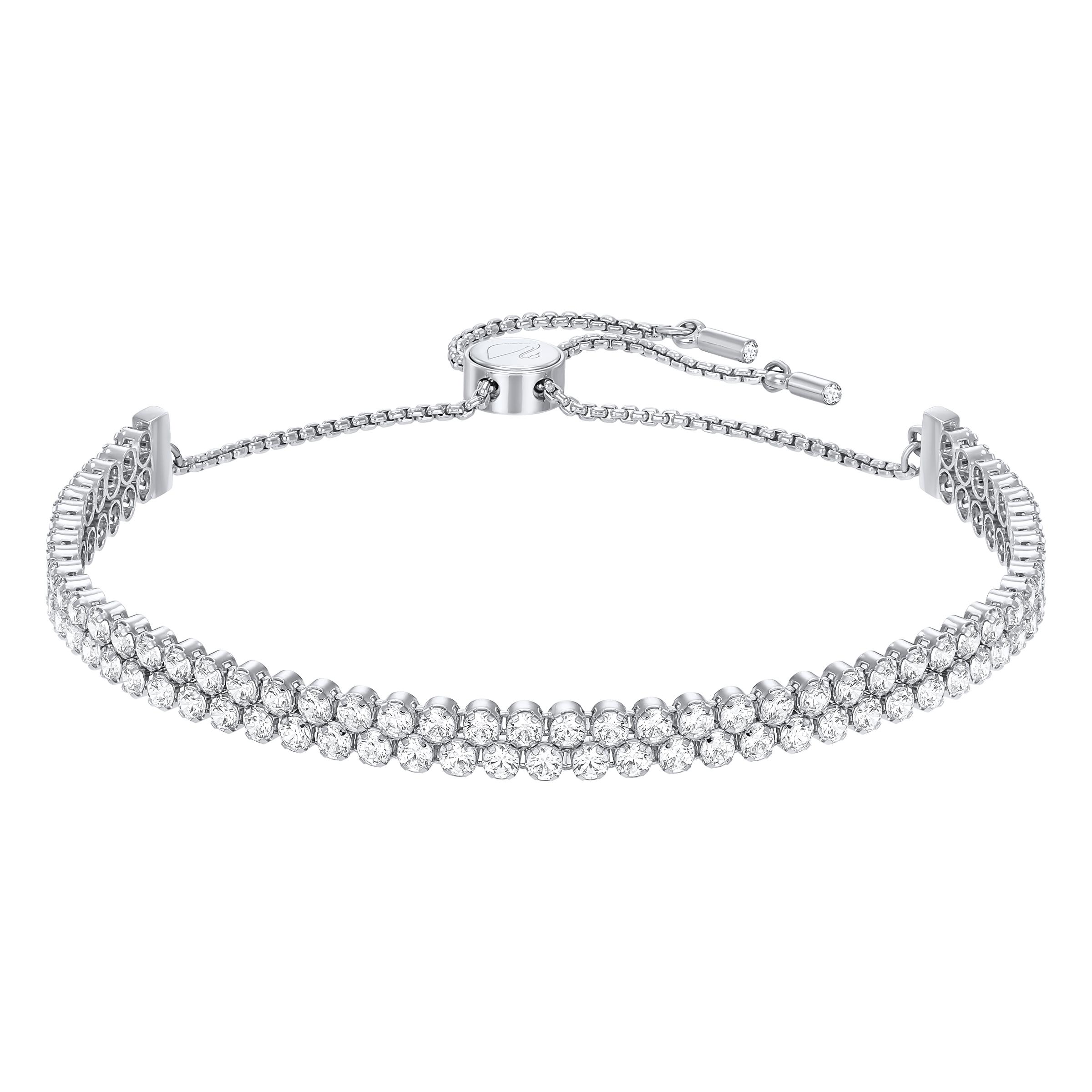 Bracelet Subtle, blanc, Métal rhodié Swarovski