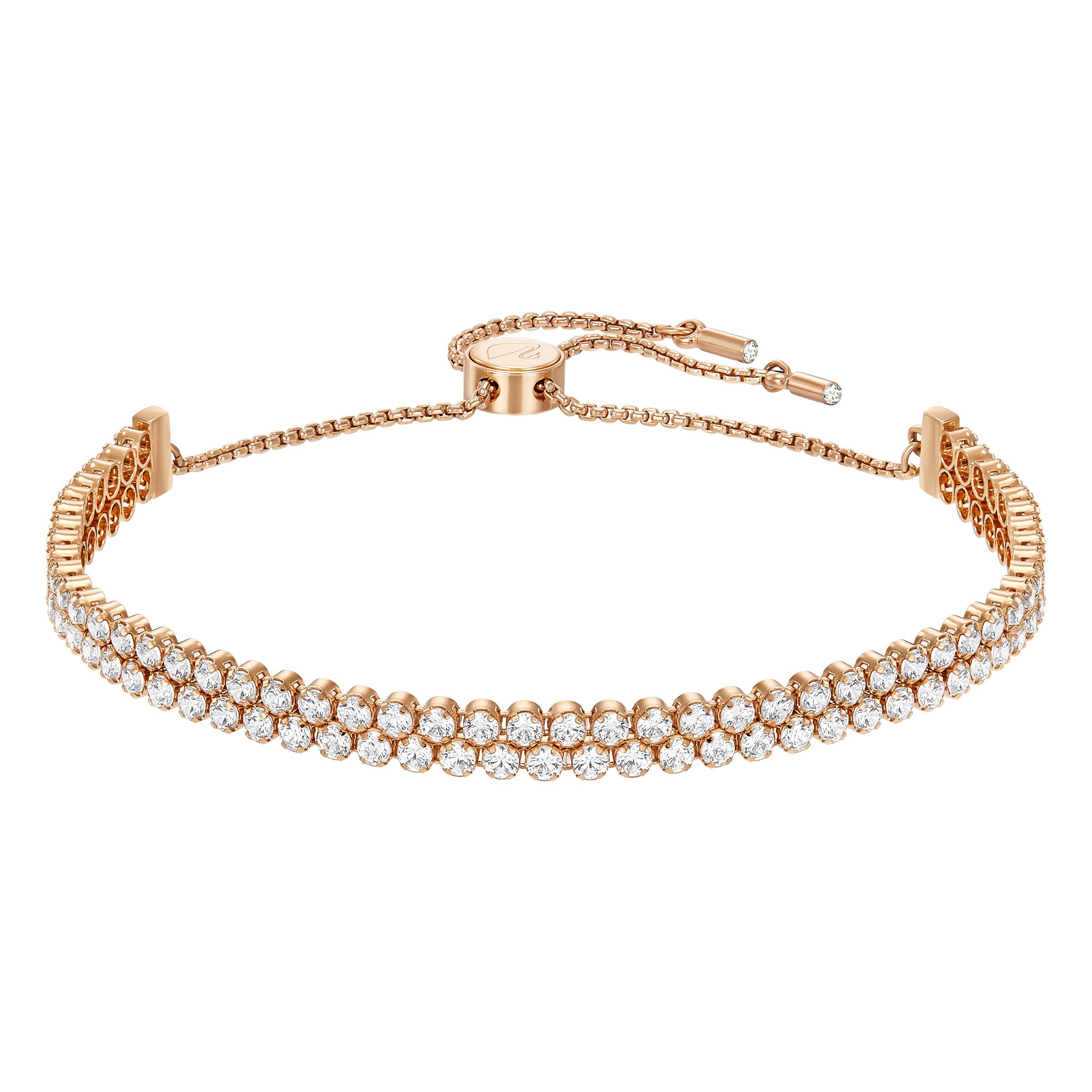 Bracelet Subtle, blanc, Métal doré rose, Swarovski