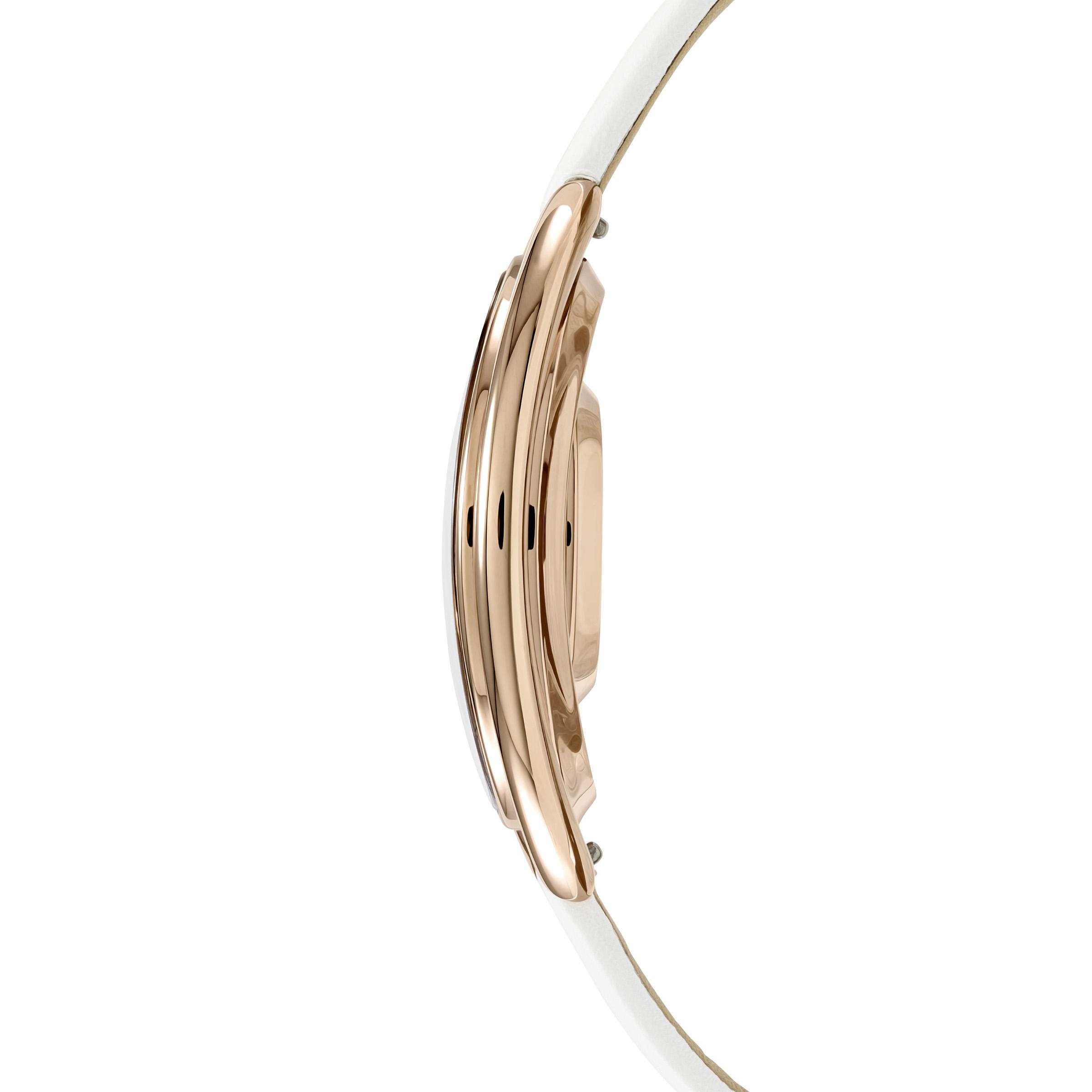 Montre Crystalline Oval, Bracelet en cuir, blanc, PVD doré rose, Swarovski