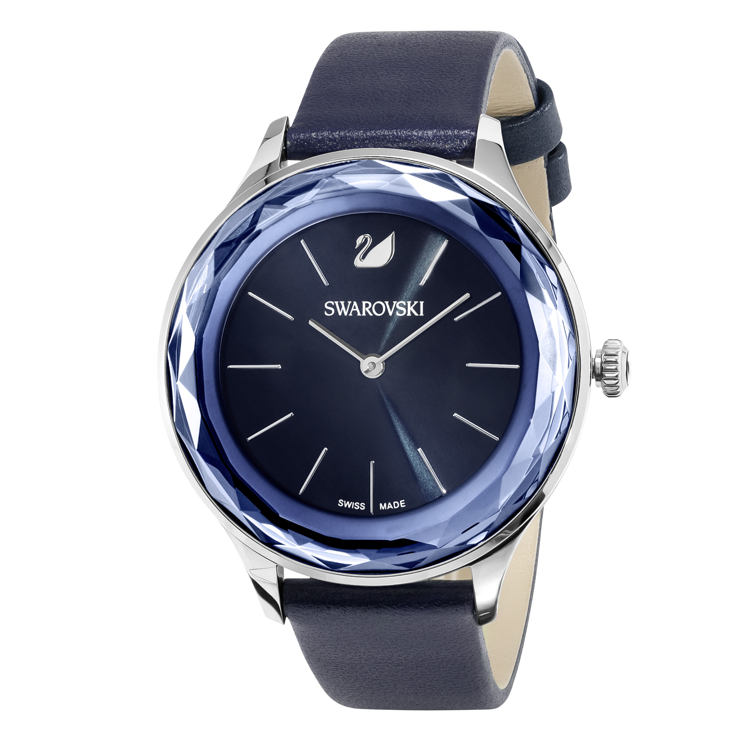 Montre Octea Nova, Bracelet en cuir, bleu, acier inoxydable Swarovski