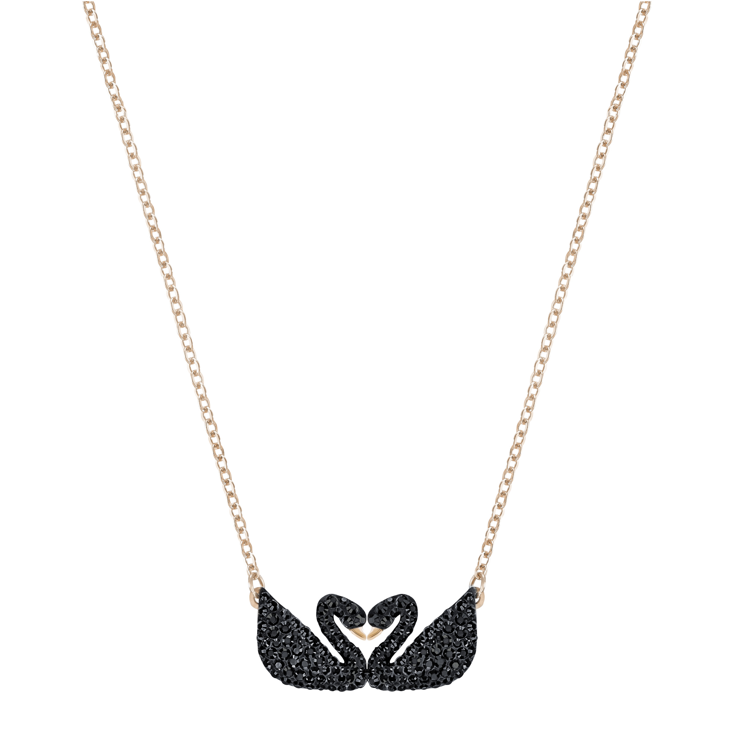 Collier Swarovski Iconic Swan, noir, Métal doré rose, Swarovski