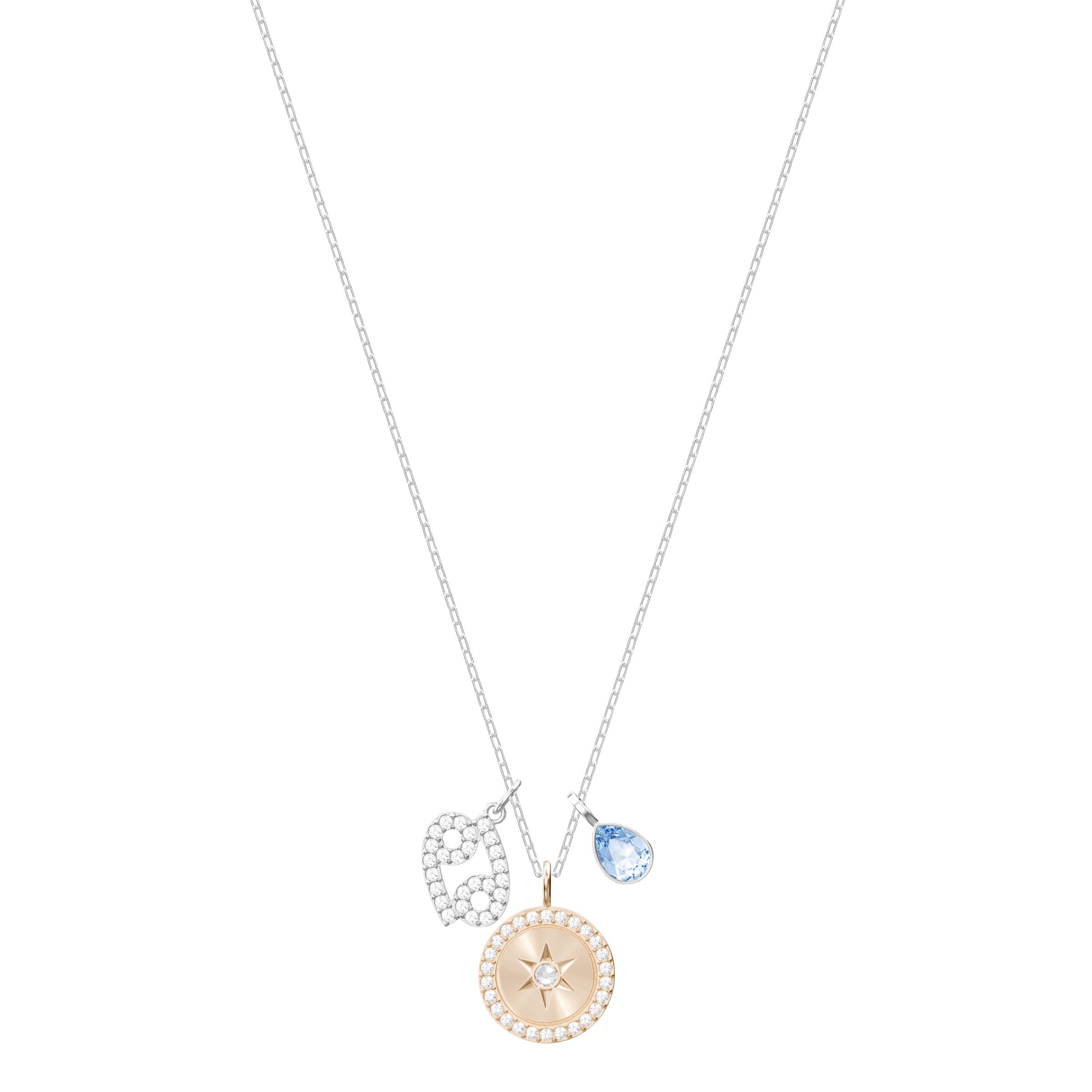 Pendentif Zodiac, Cancer, aiguemarine turquoise, Métal rhodié Swarovski