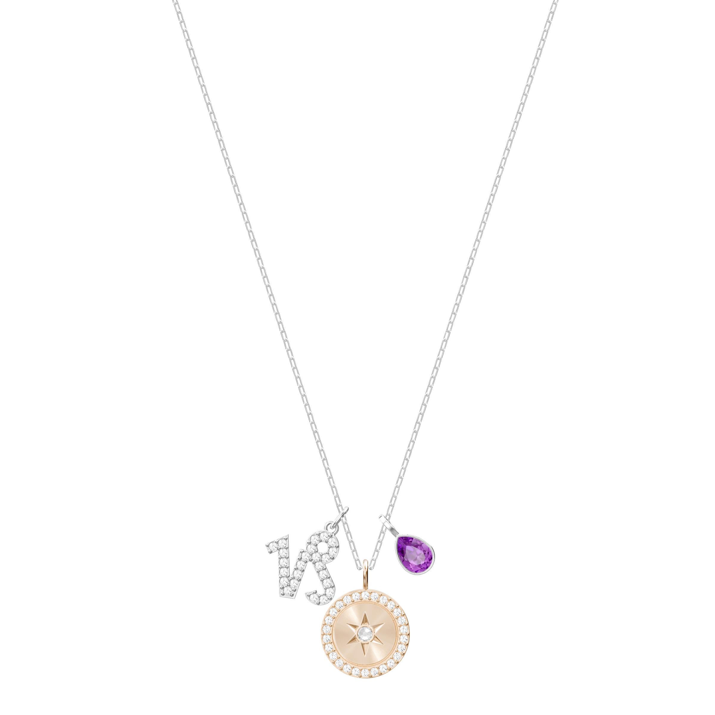 Pendentif Zodiac, Capricorne, violet, Métal rhodié Swarovski