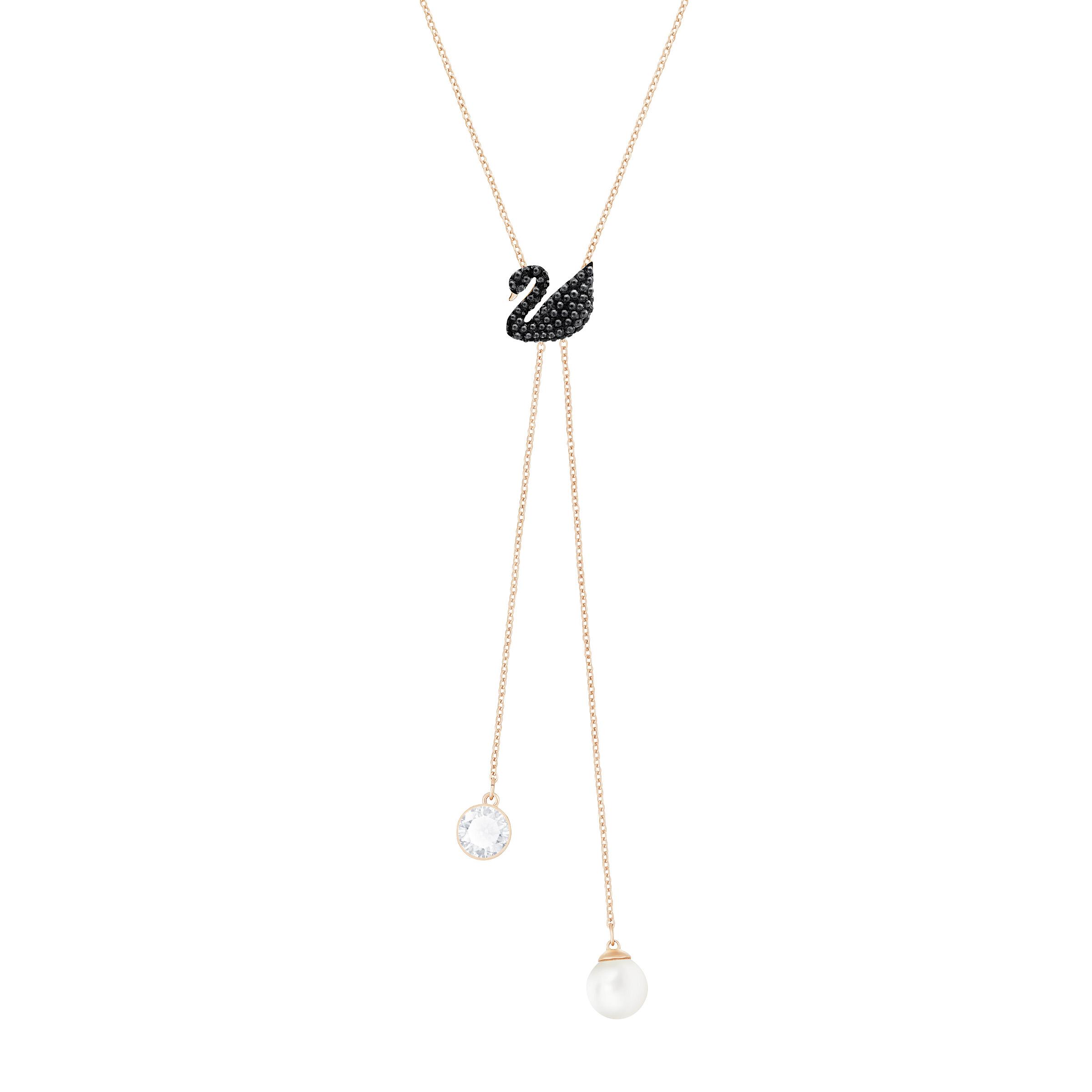 Collier en Y Swarovski Iconic Swan, noir, Métal doré rose, Swarovski
