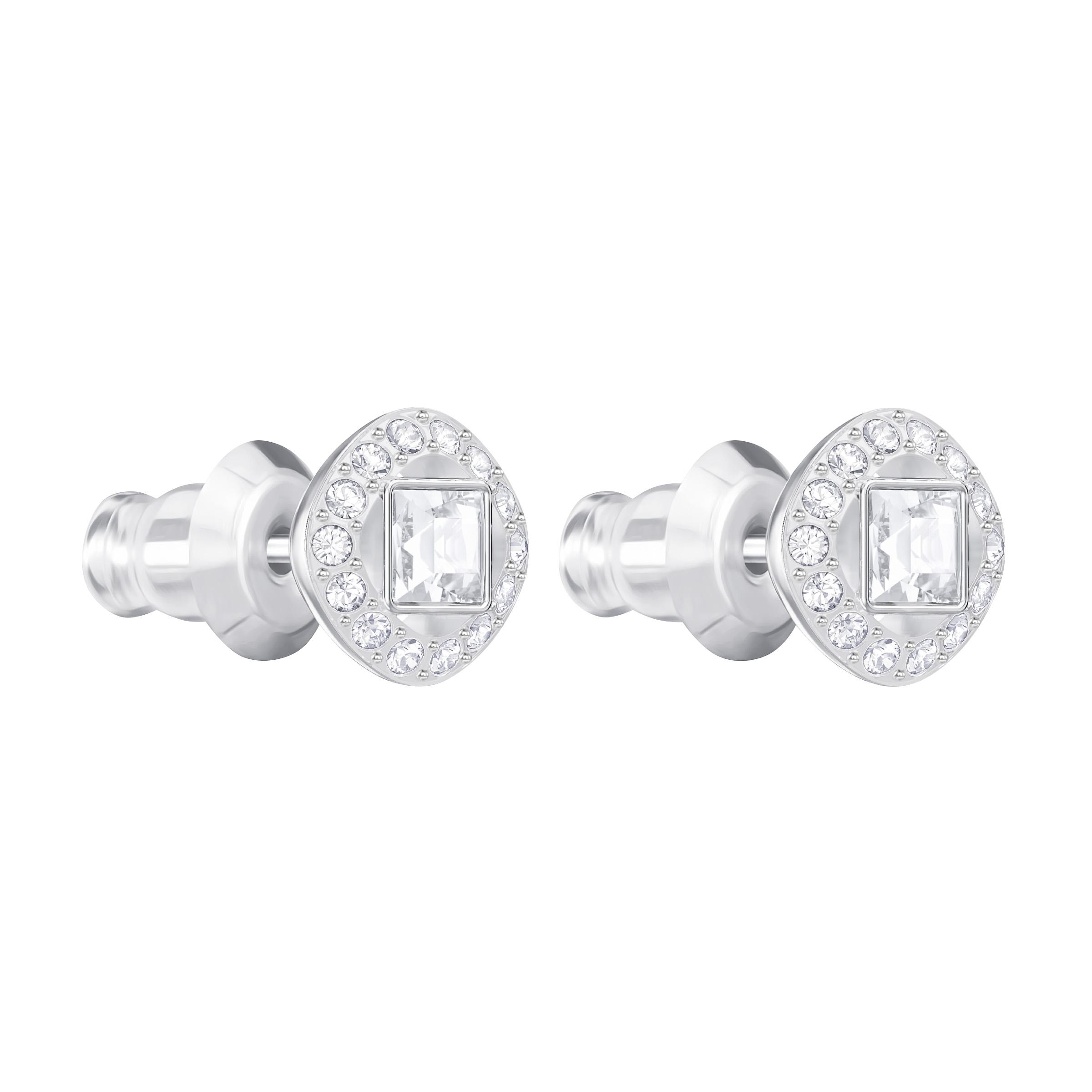 Boucles d'oreilles Angelic Square, blanc, Métal rhodié, Swarovski