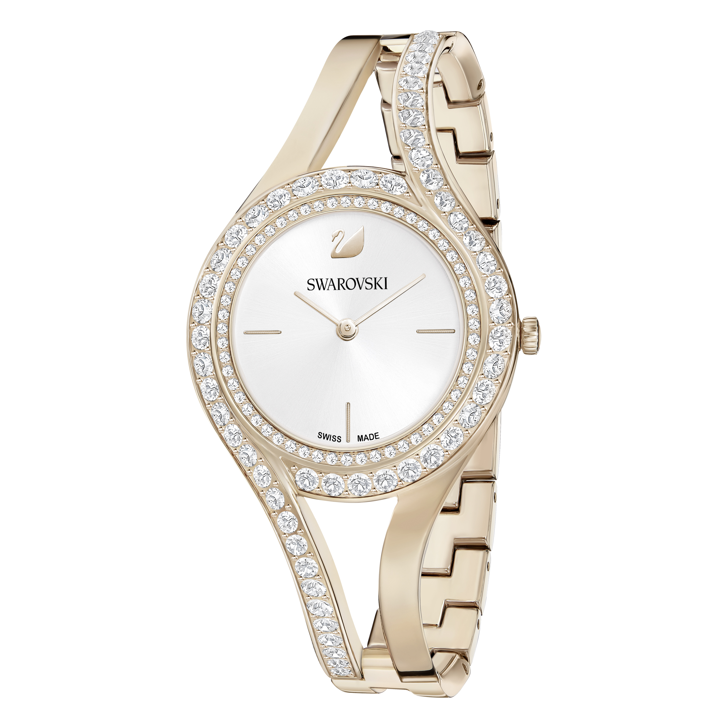 Montre Eternal, Bracelet en métal, blanc, PVD doré champagne Swarovski