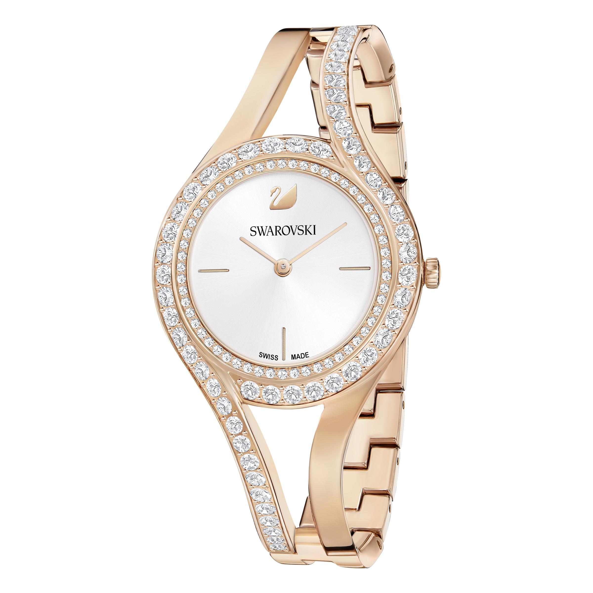 Montre Eternal, Bracelet en métal, blanc, PVD doré rose Swarovski