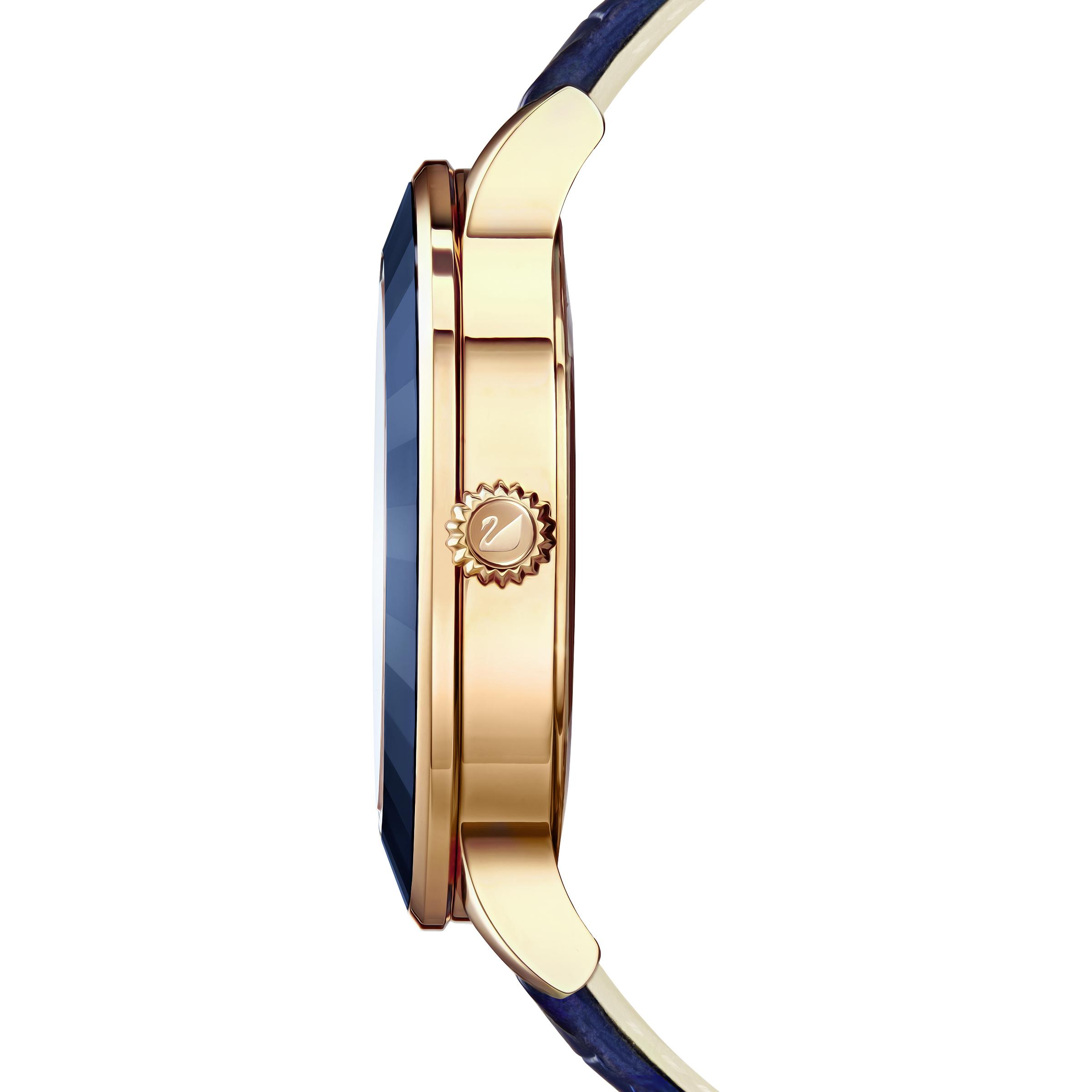 Montre Octea Lux, Bracelet en cuir, bleu, PVD doré rose Swarovski