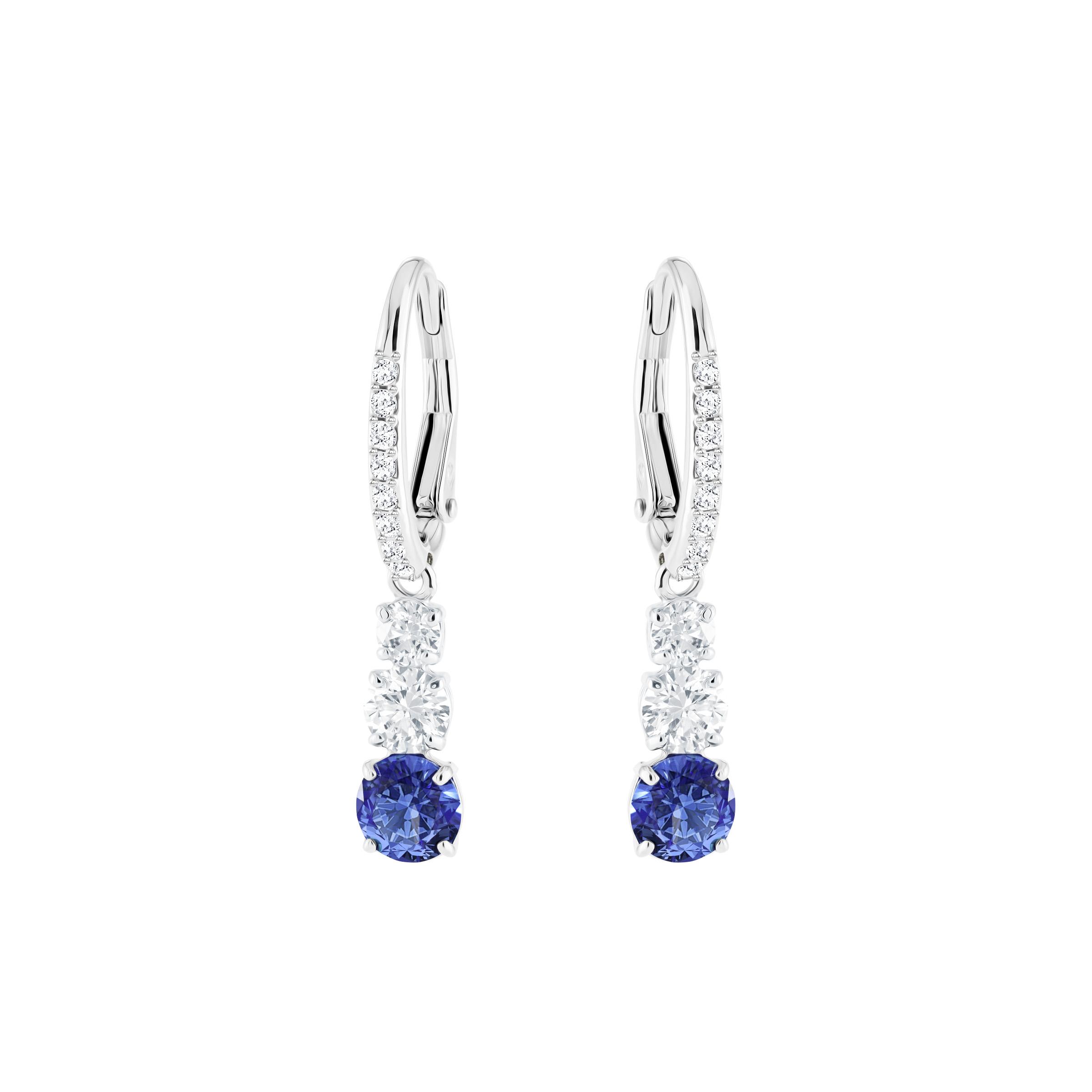 Boucles d'oreilles Attract Trilogy Round, bleu, Métal rhodié, Swarovski