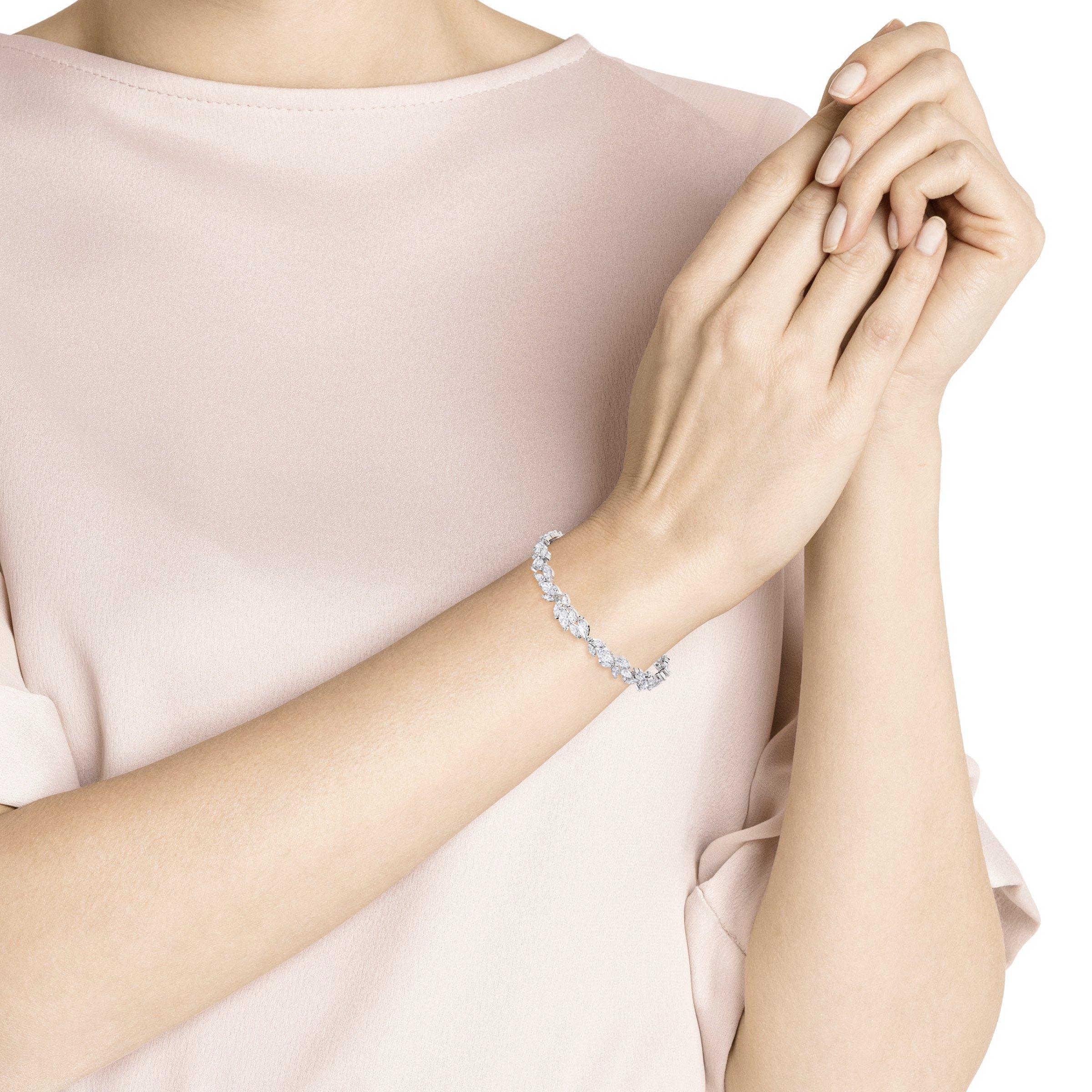 Bracelet Louison, blanc, Métal rhodié, Swarovski