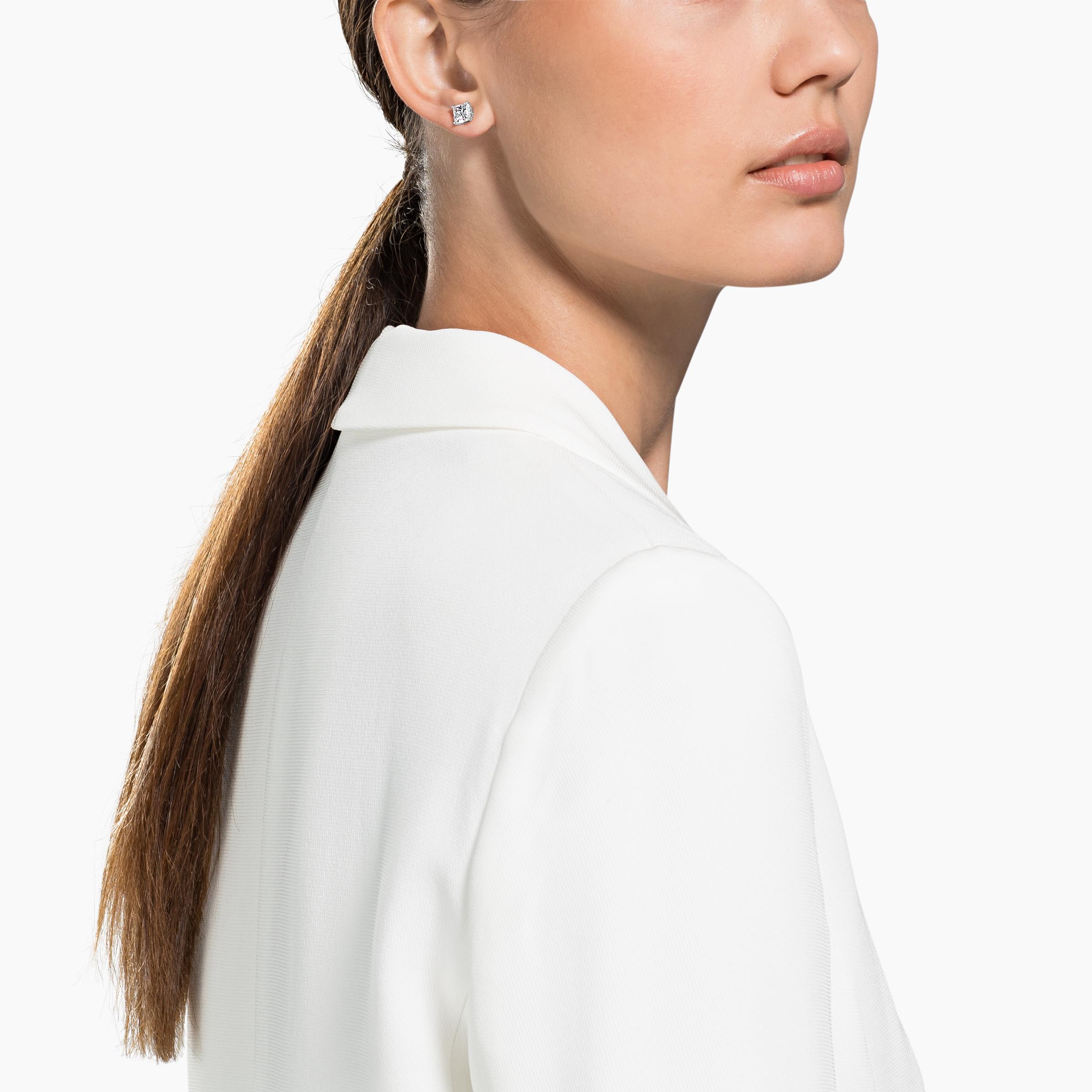 Boucles d'oreilles clous Attract, blanc, Métal rhodié, Swarovski