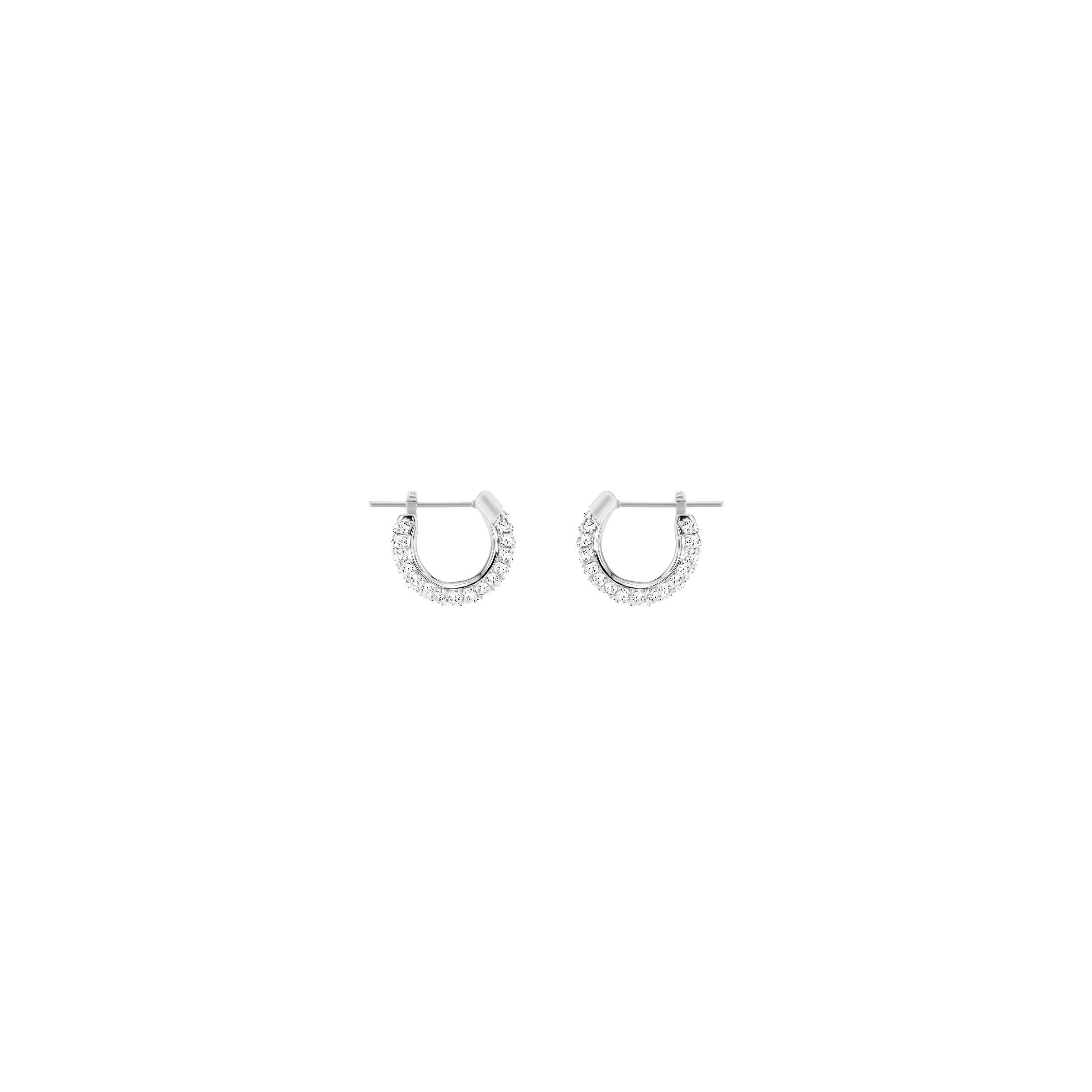 Boucles d'oreilles Stone, blanc, Métal rhodié, Swarovski