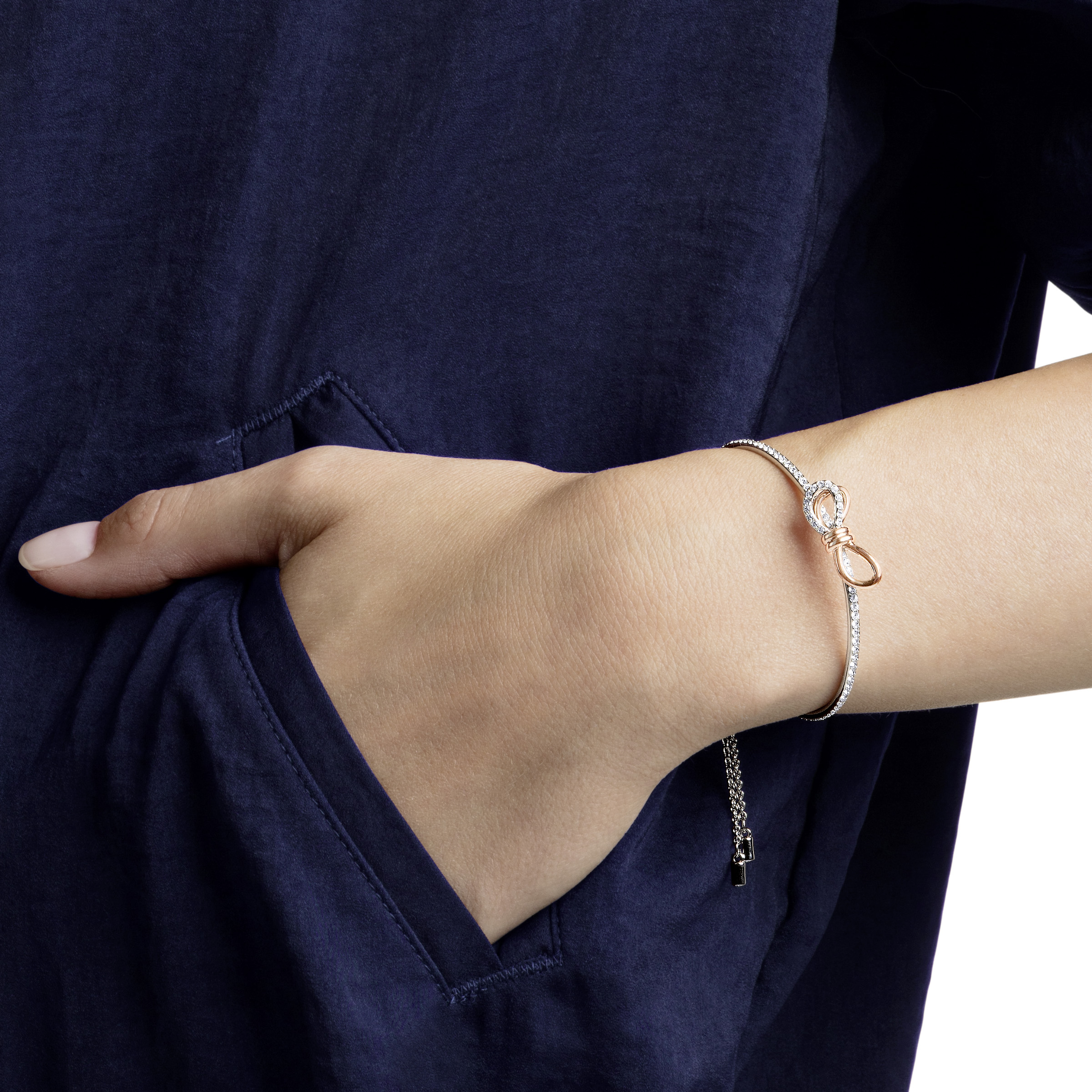 Bracelet-jonc Lifelong Bow, blanc, Finition mix de métal, Swarovski