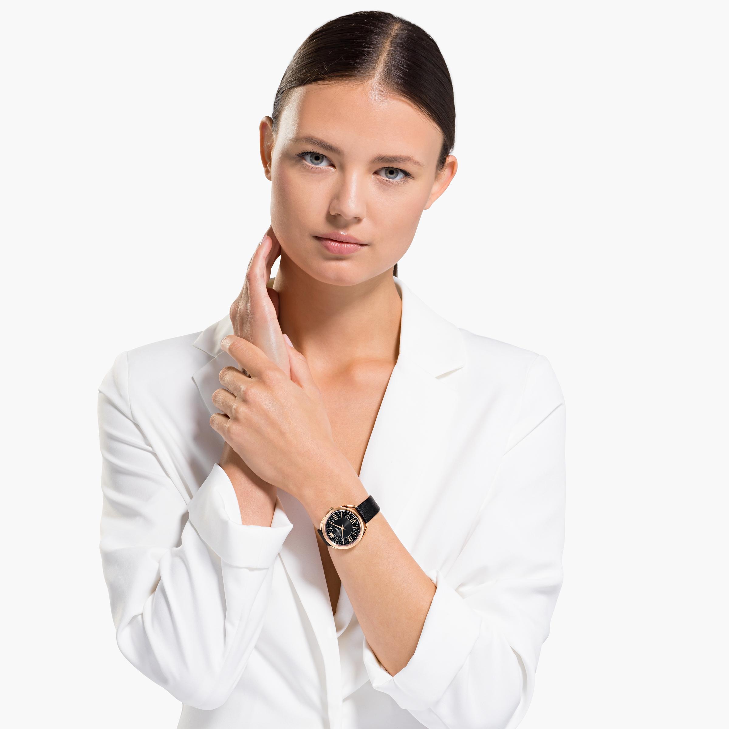 Montre Crystalline Glam, Bracelet en cuir, noir, PVD doré rose Swarovski