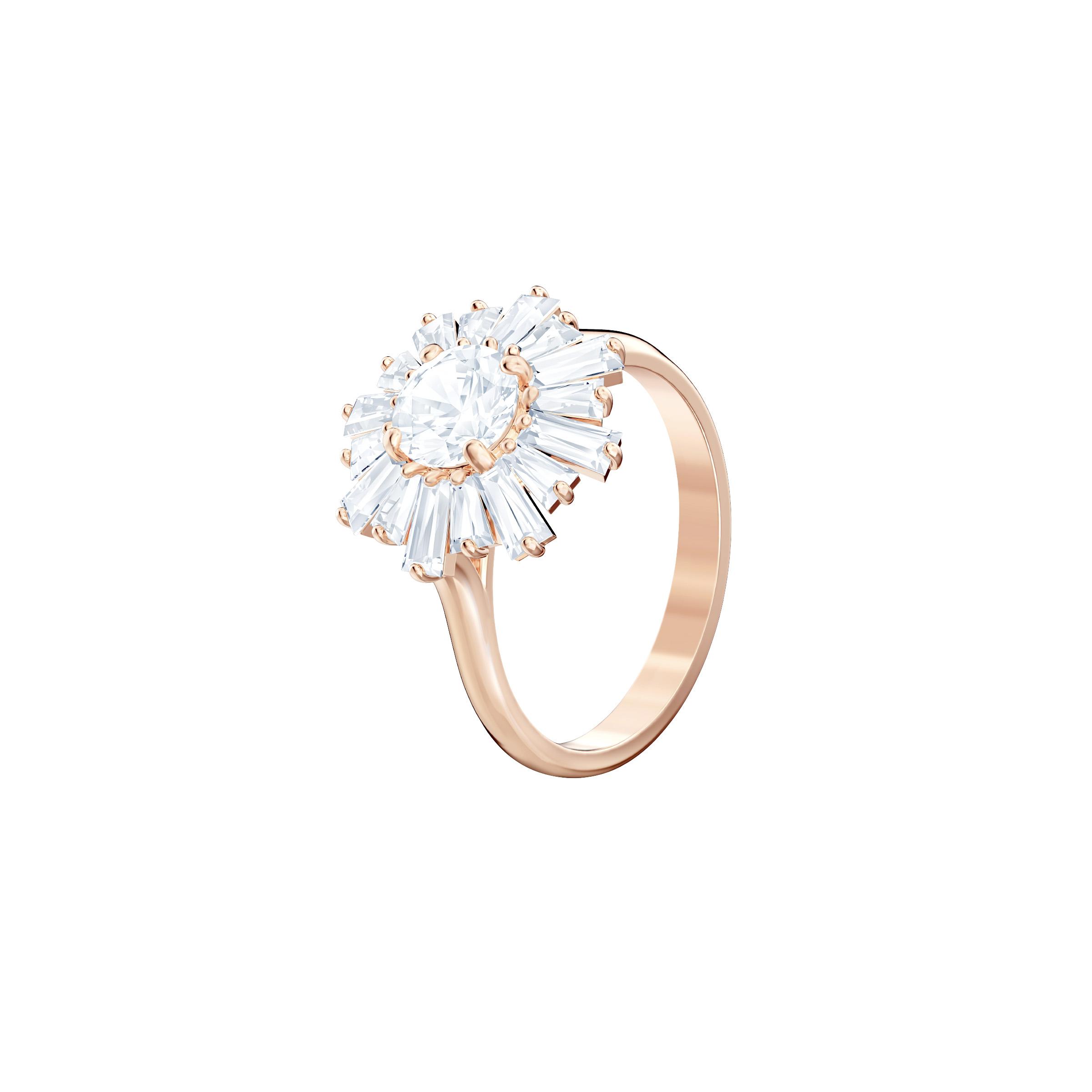 Bague Sunshine, blanc, Métal doré rose Swarovski