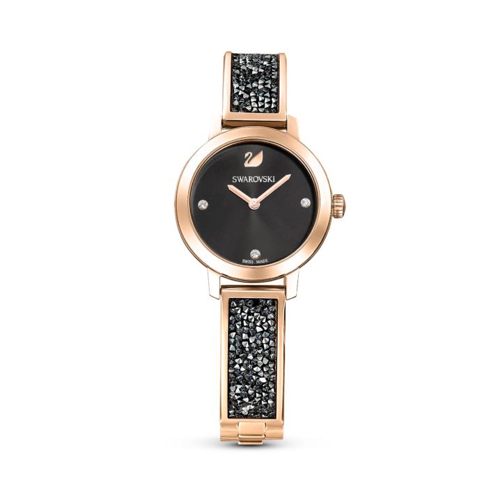 Montre Cosmic Rock, Bracelet en métal, gris, PVD doré champagne Swarovski