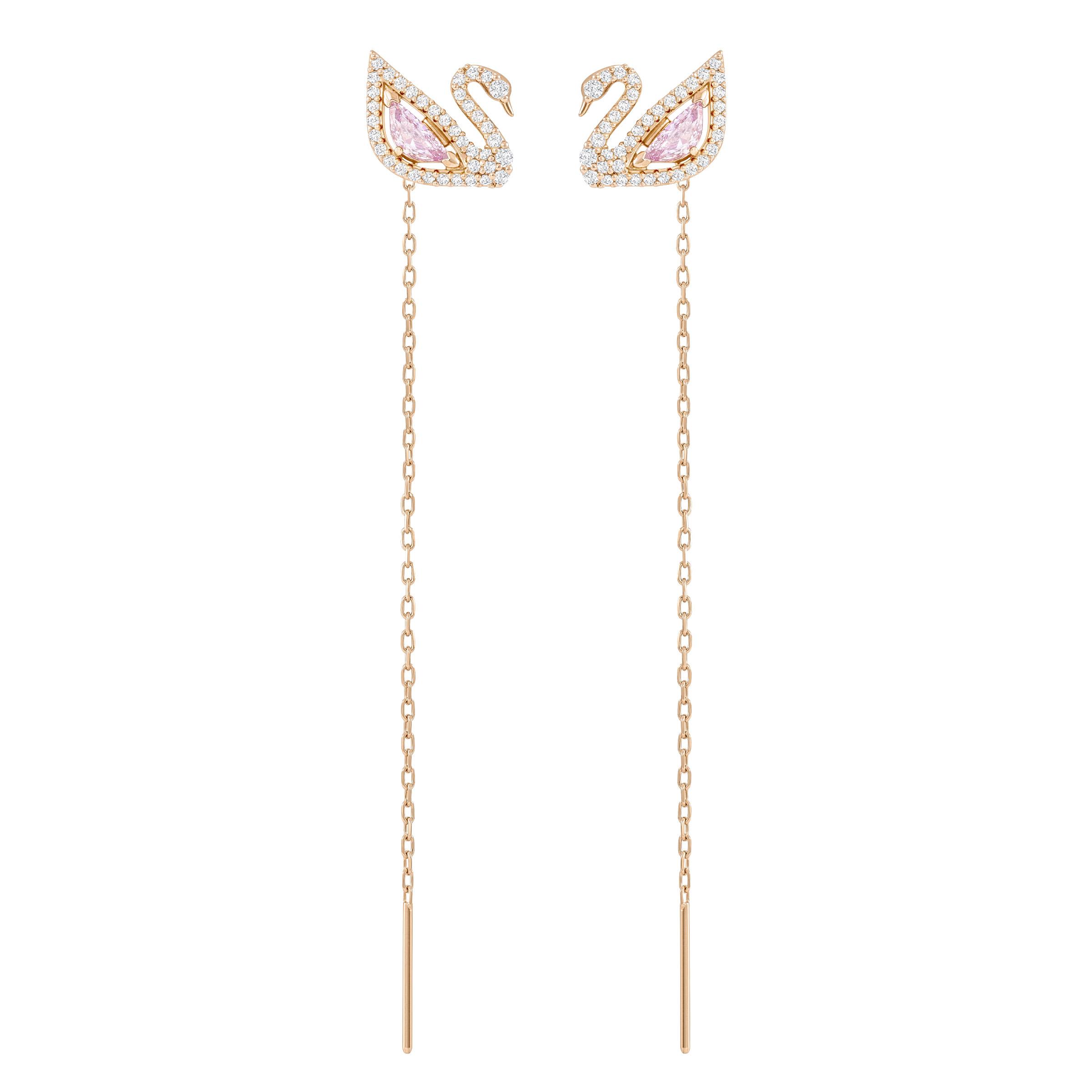 Boucles d'oreilles Dazzling Swan, multicolore, Métal doré rose, Swarovski