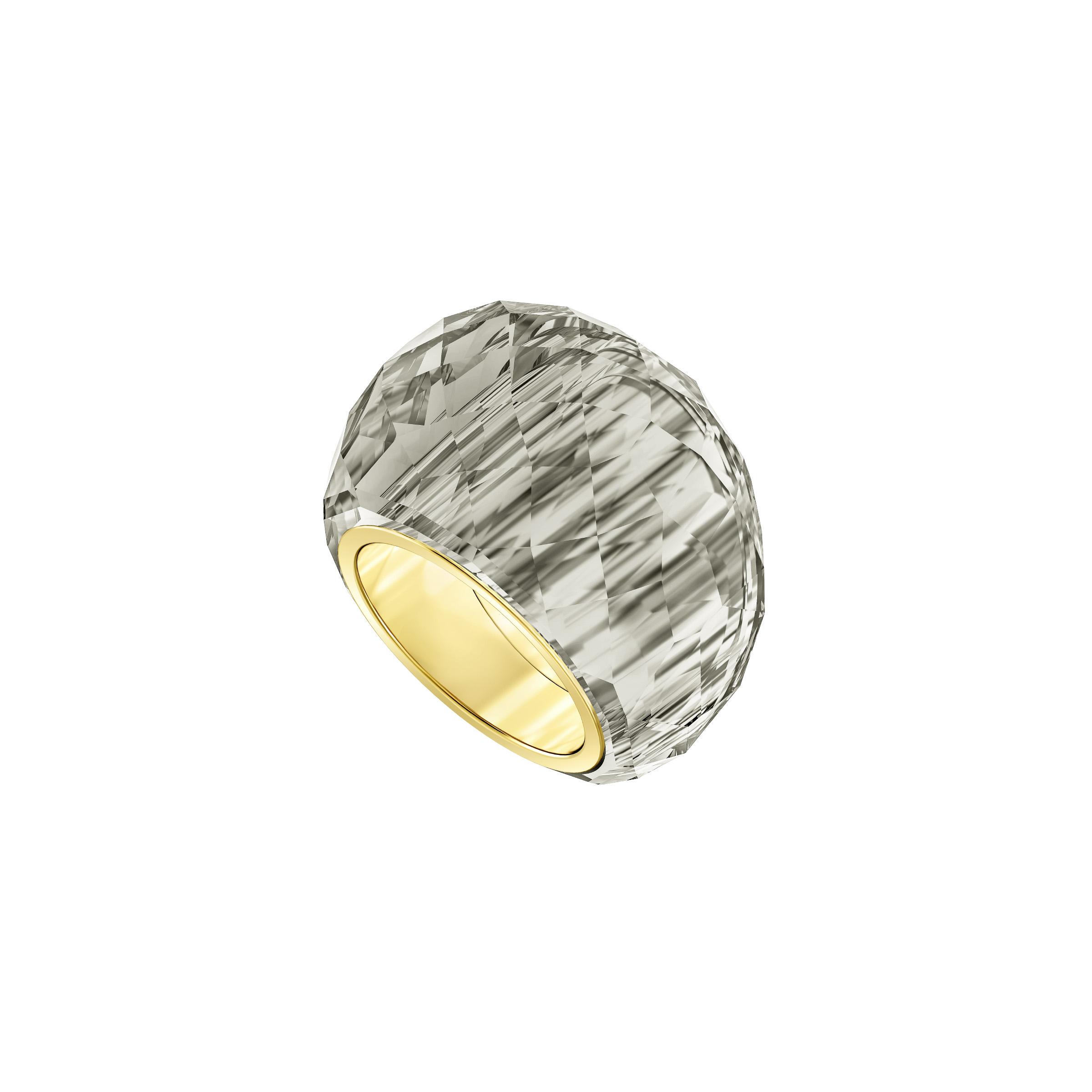 Bague Swarovski Nirvana, gris, PVD doré, Swarovski