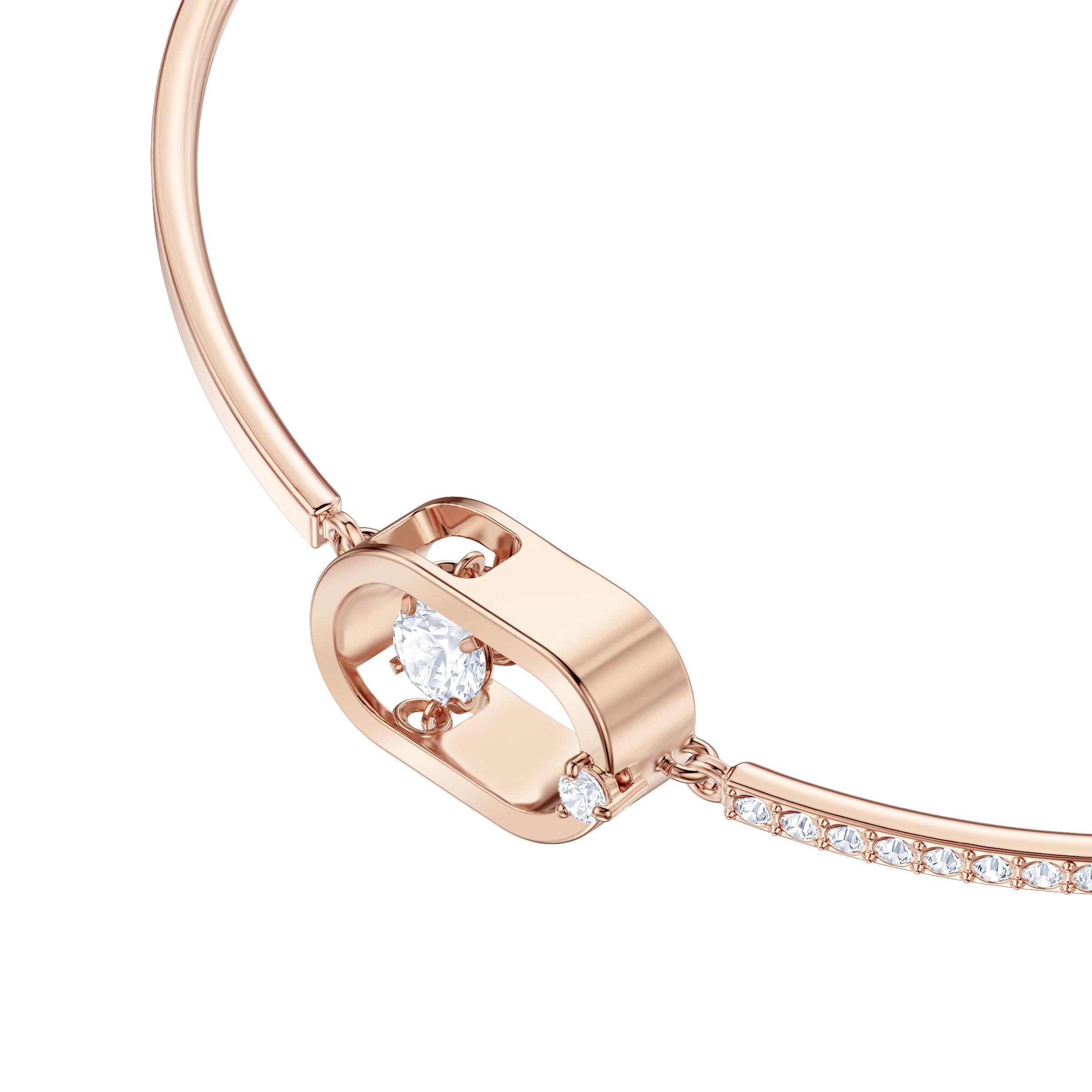 Bracelet North, blanc, Métal doré rose, Swarovski