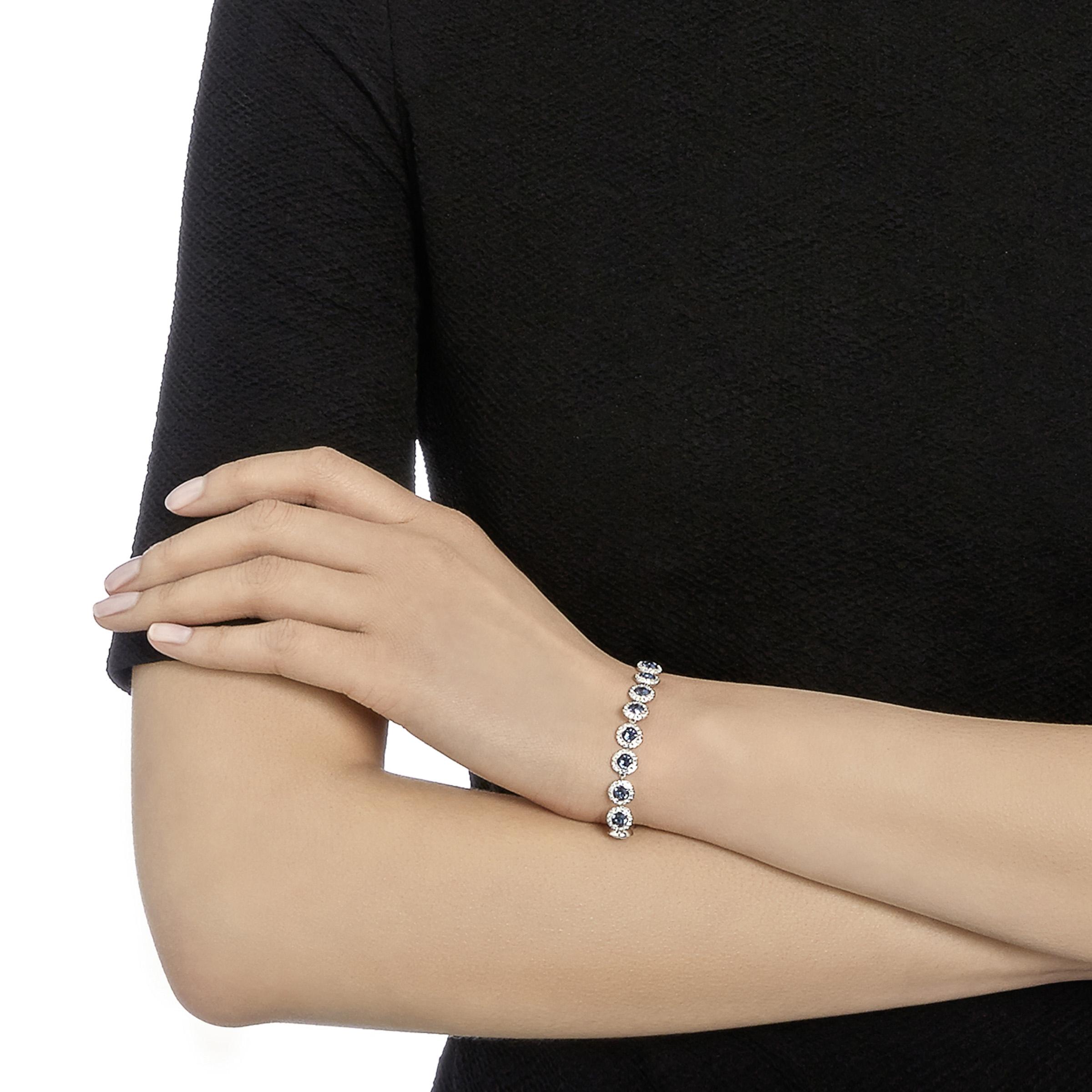 Bracelet Angelic, bleu, Métal rhodié Swarovski