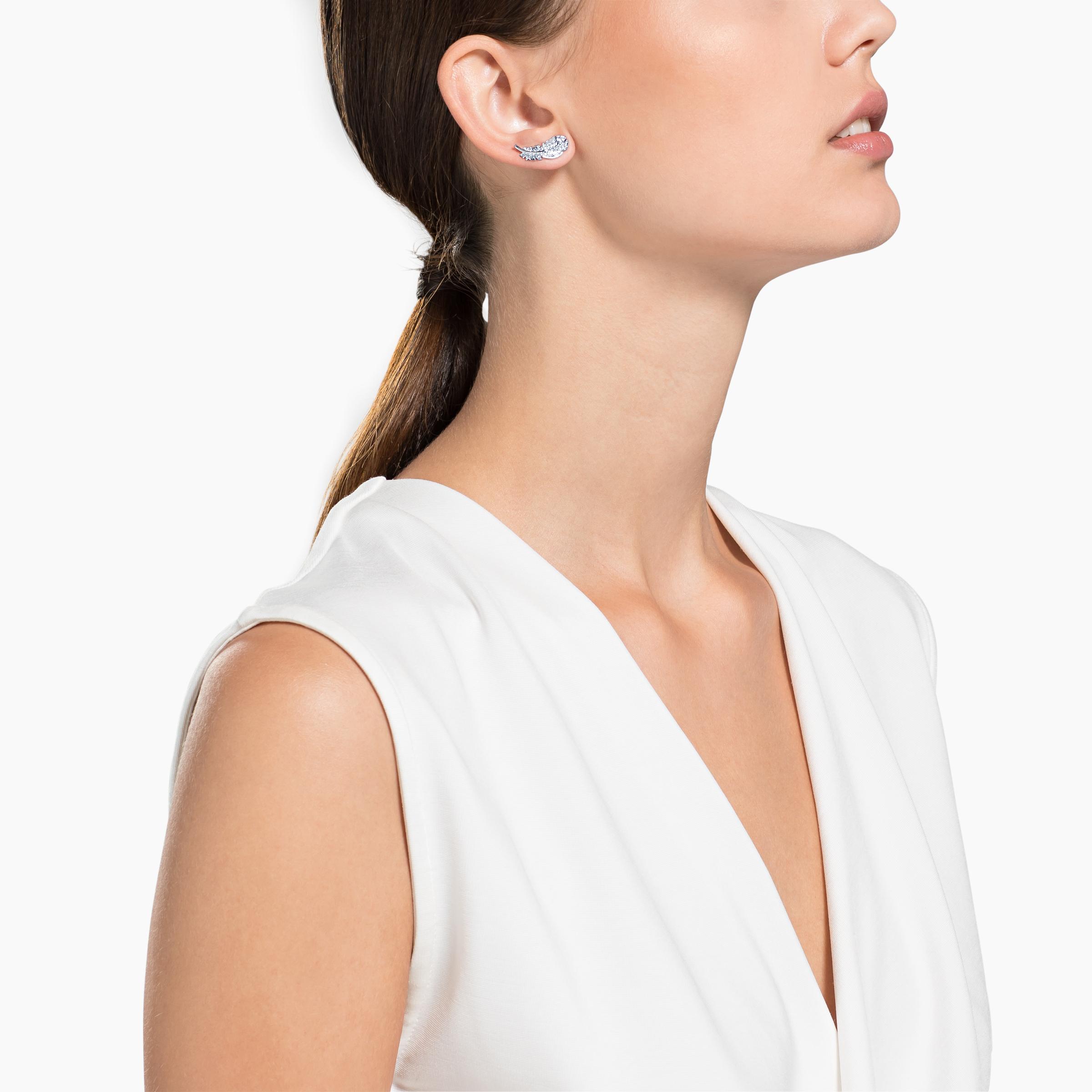 Boucles d'oreilles clous Nice, blanc, Métal rhodié, Swarovski