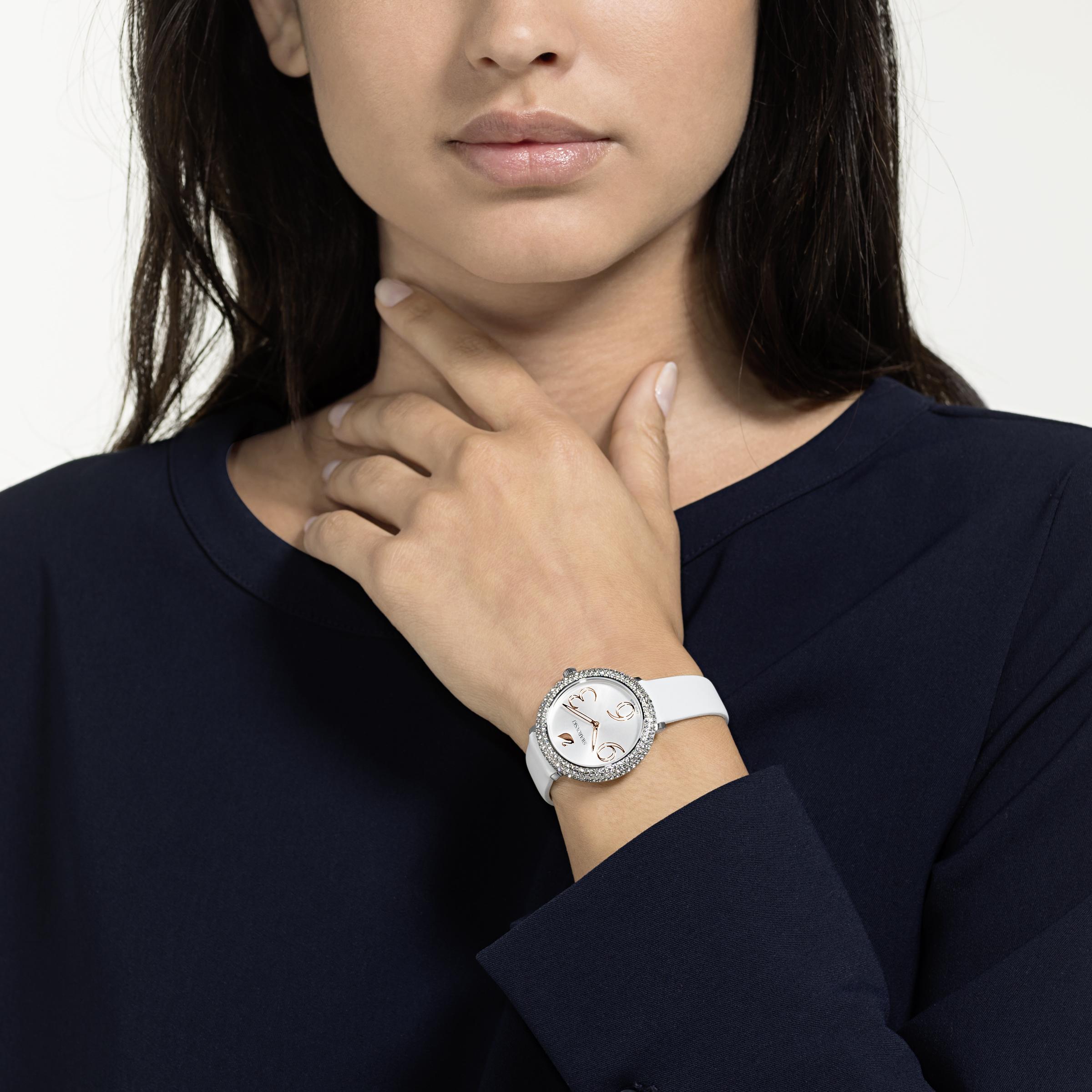 Montre Crystal Frost, Bracelet en cuir, blanc, acier inoxydable Swarovski