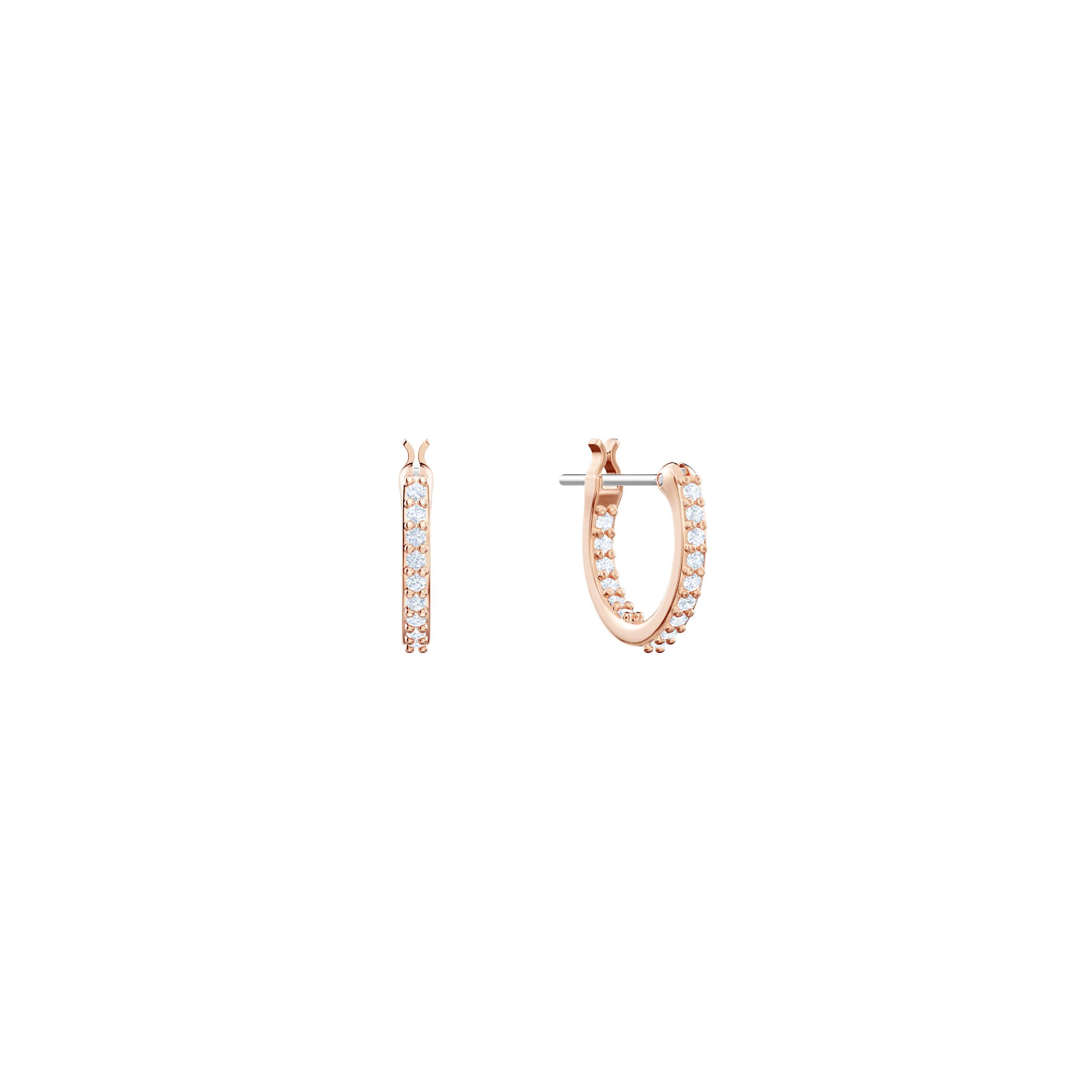 Boucles d'oreilles drop Penélope Cruz Moonsun, blanc, Métal doré rose, Swarovski