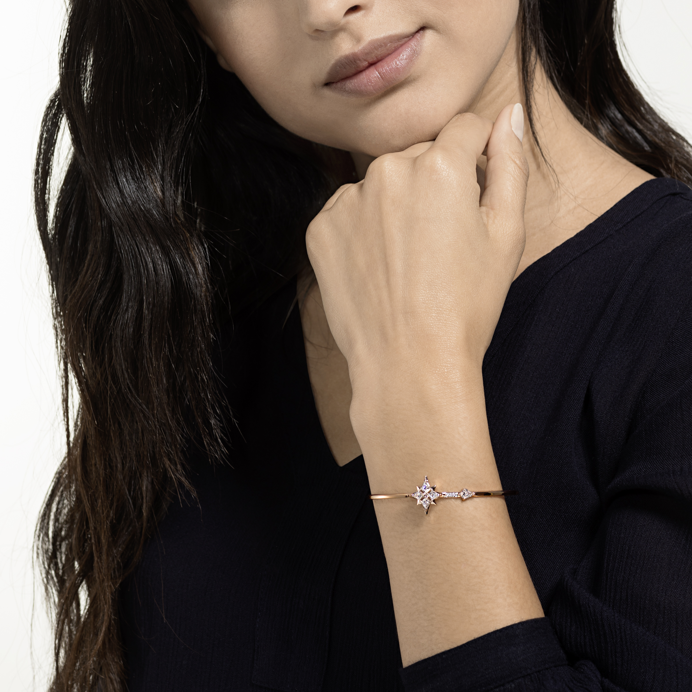 Bracelet-jonc Swarovski Symbolic, blanc, Métal doré rose, Swarovski