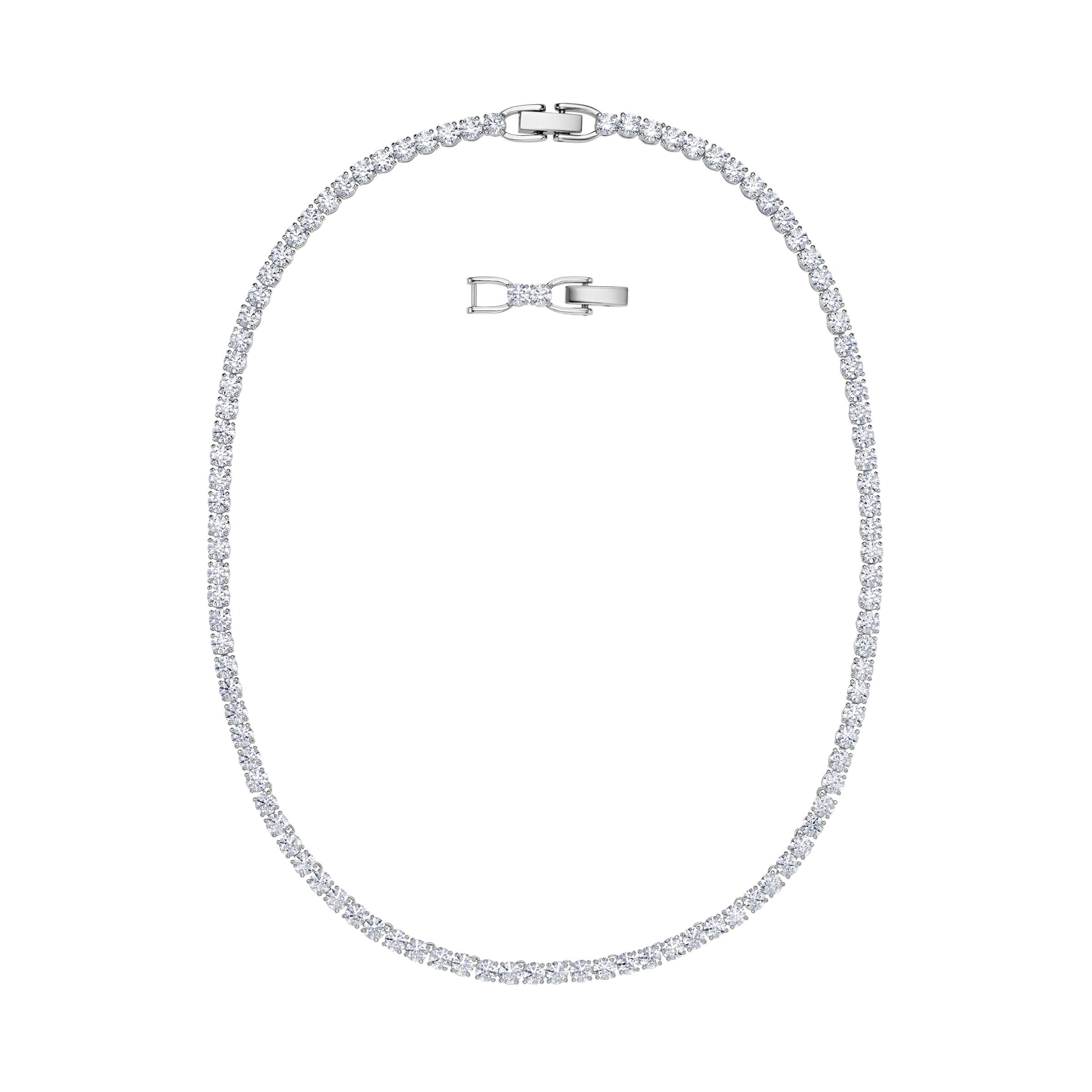 Collier Tennis Deluxe, blanc, Métal rhodié, Swarovski