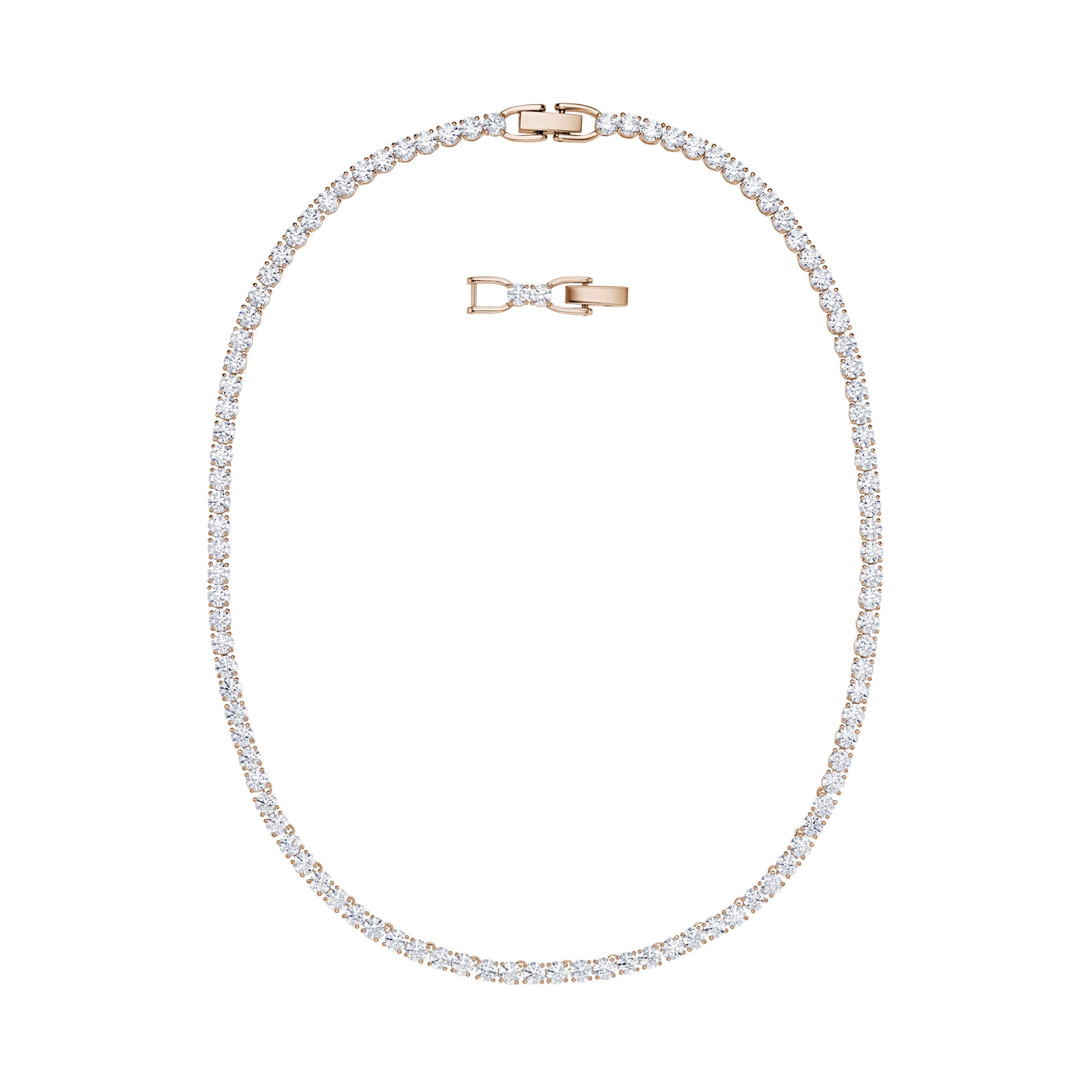 Collier Tennis Deluxe, blanc, Métal doré rose, Swarovski