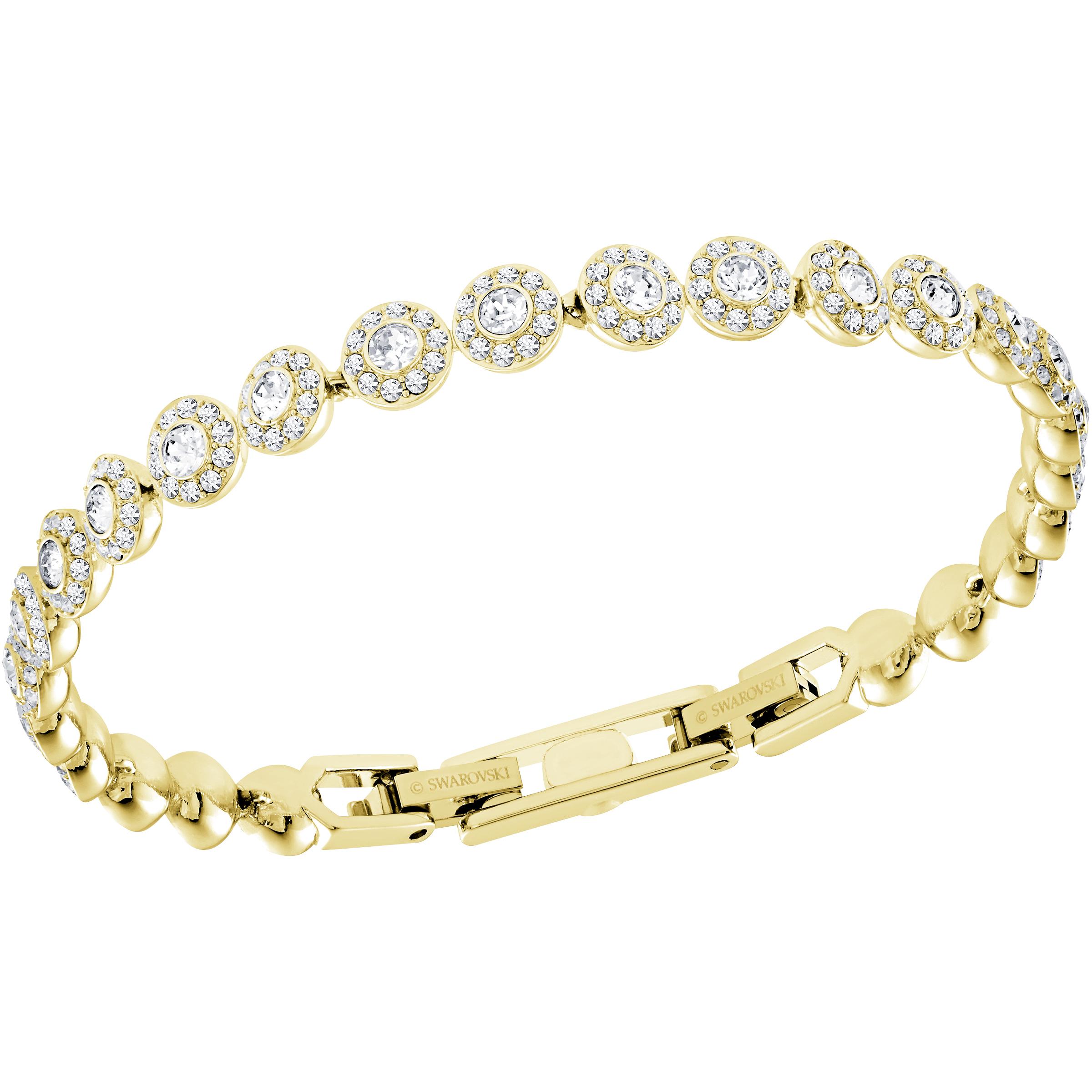 Bracelet Angelic, blanc, Métal doré, Swarovski