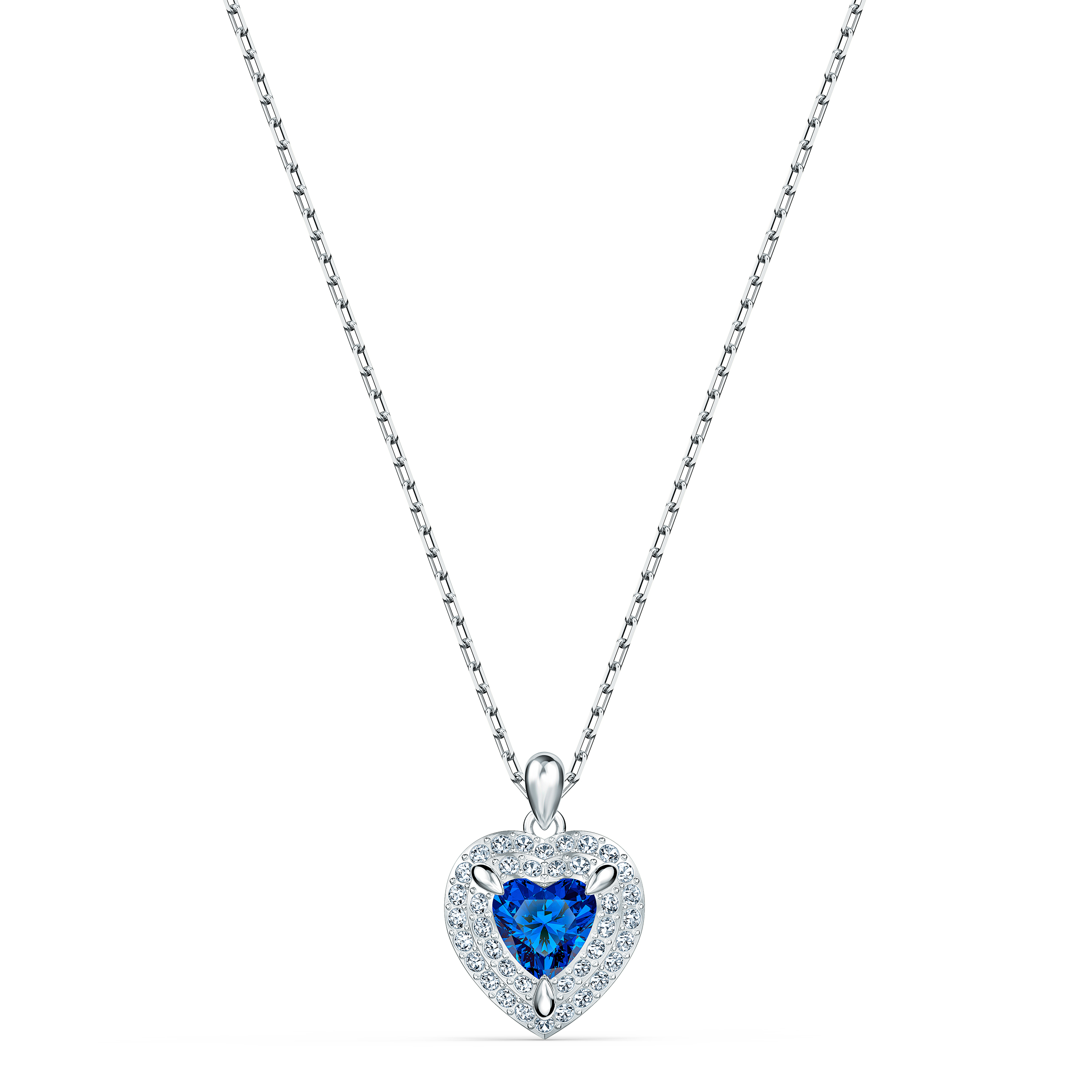 Pendentif One, bleu, métal rhodié, Swarovski