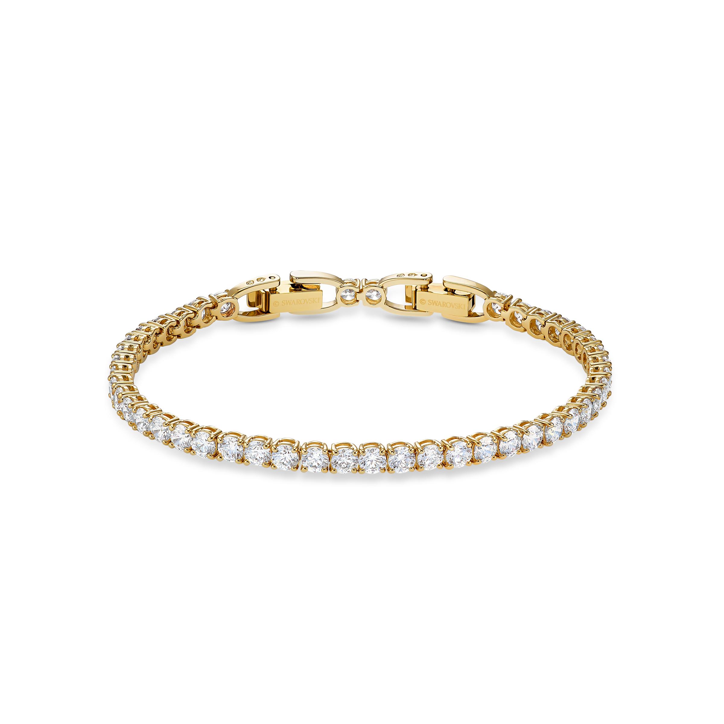Bracelet Tennis Deluxe, blanc, métal doré, Swarovski