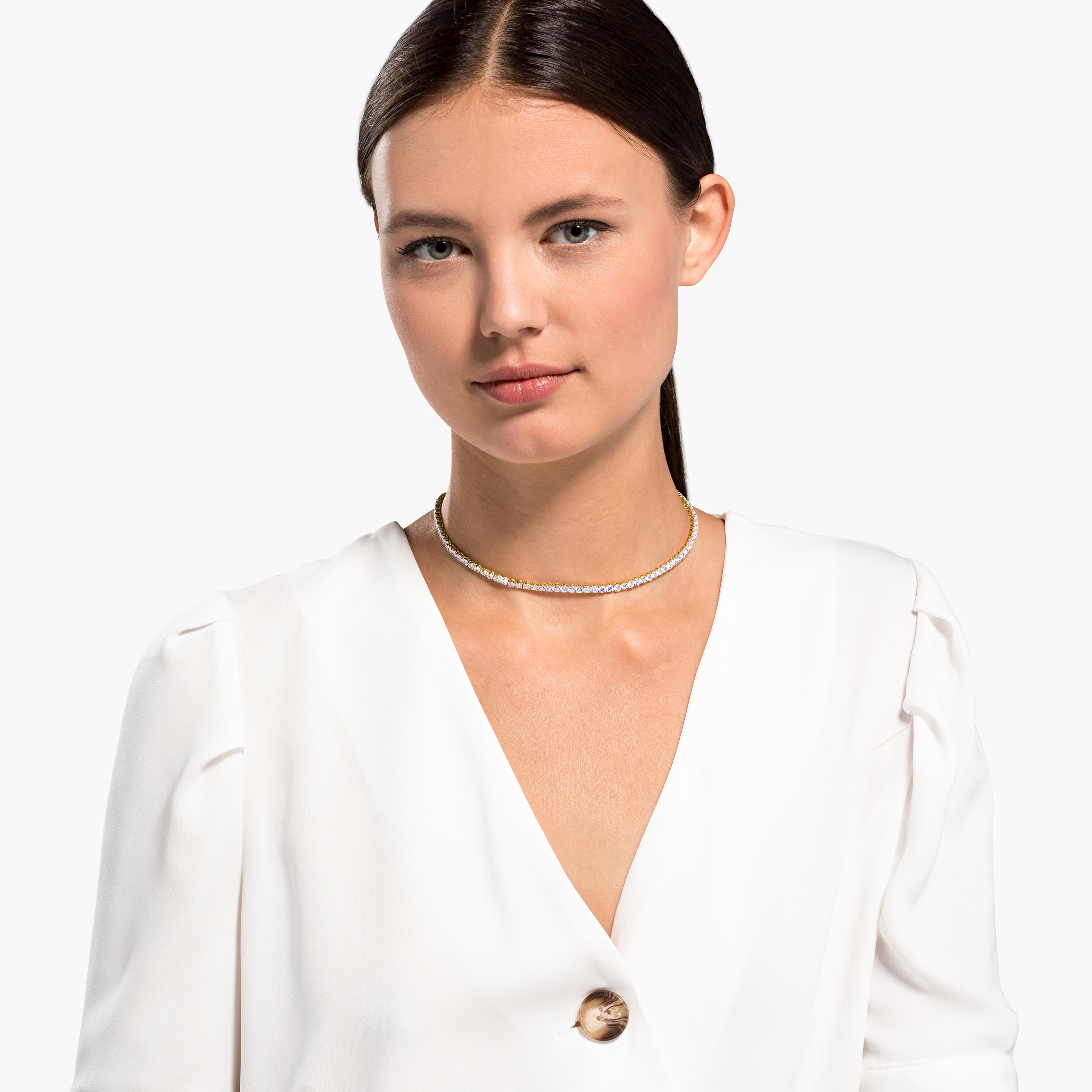 Collier Tennis Deluxe, blanc, métal doré, Swarovski
