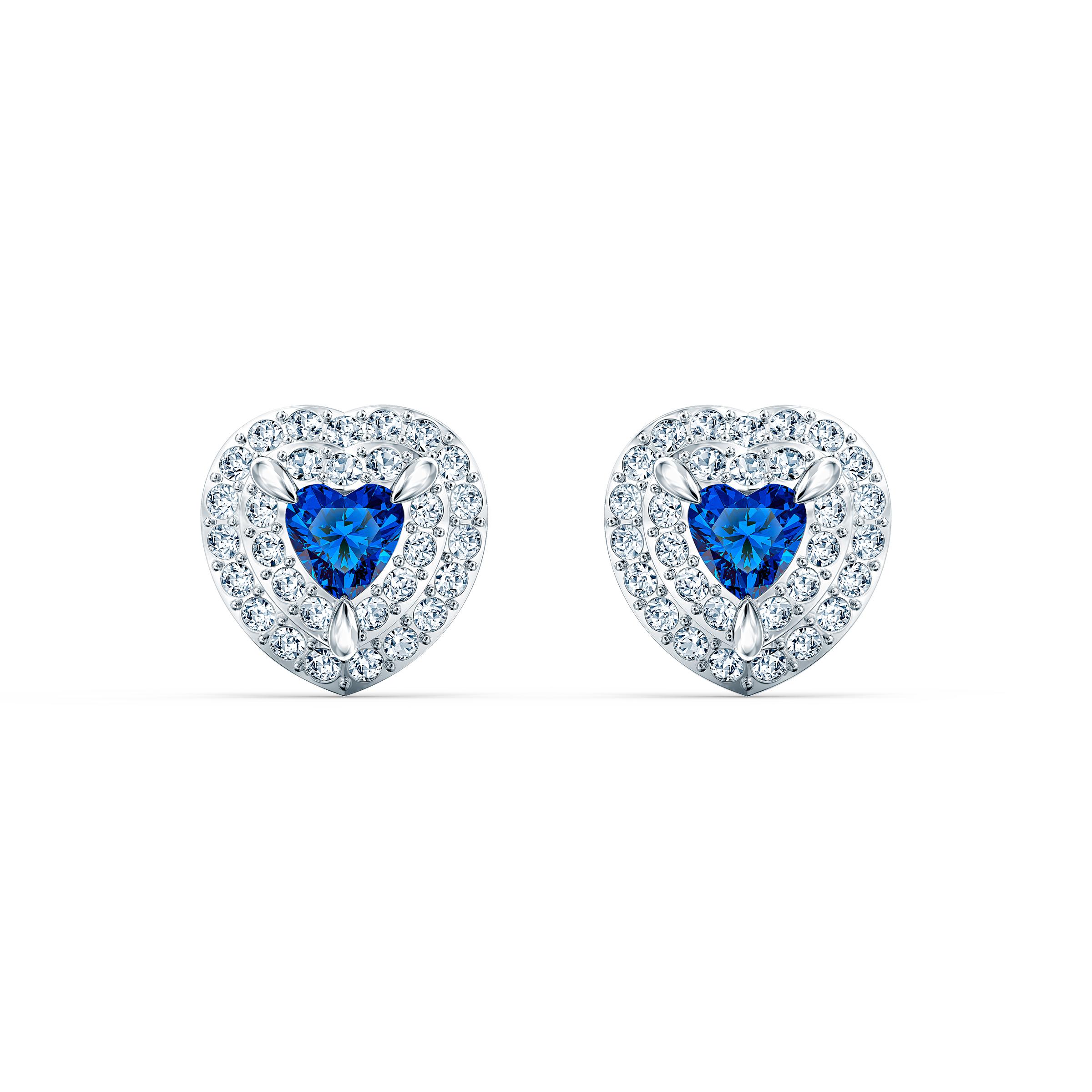 Boucles d'oreilles clous One, bleu, métal rhodié, Swarovski