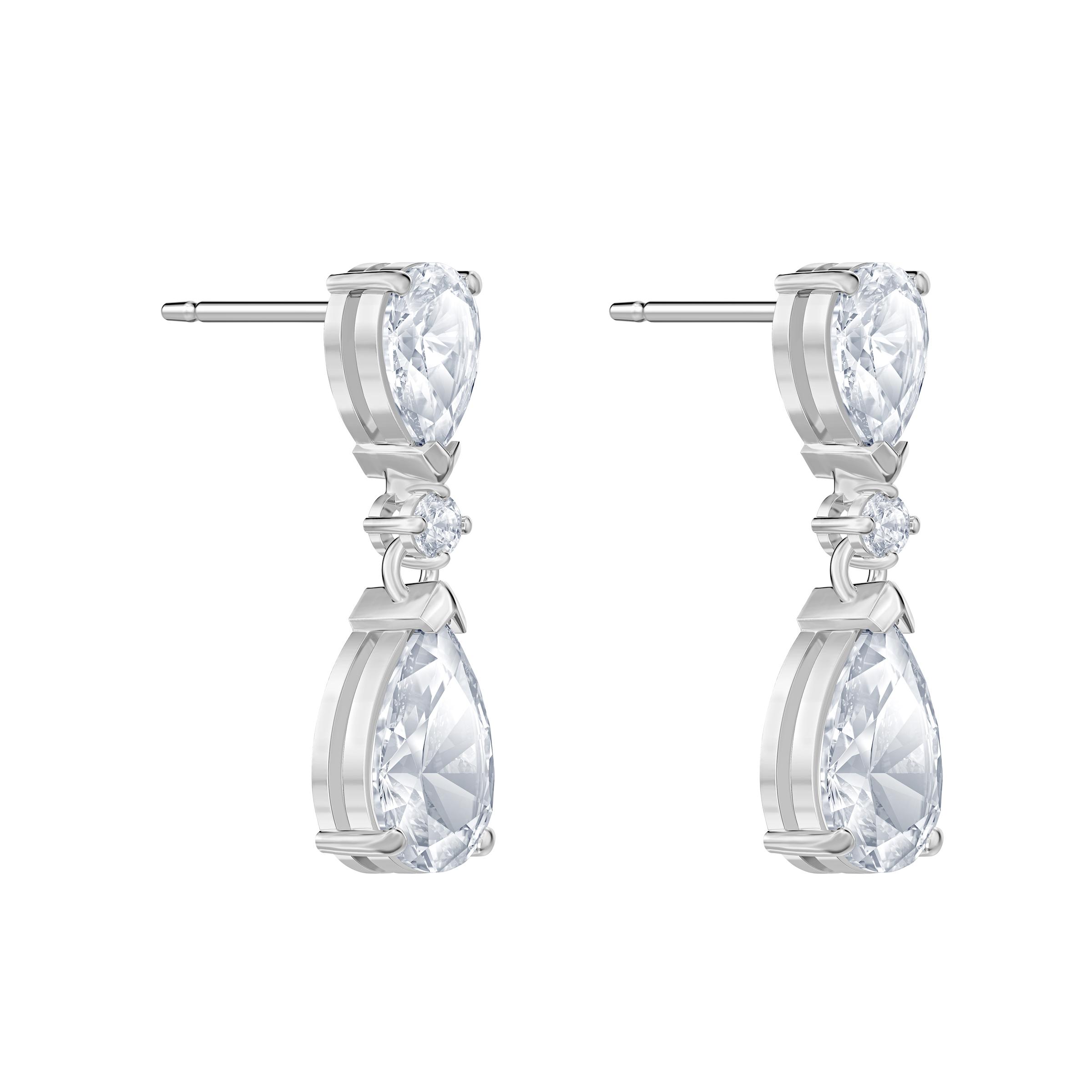 Boucles d'oreilles drop Palace, blanc, Métal rhodié, Swarovski