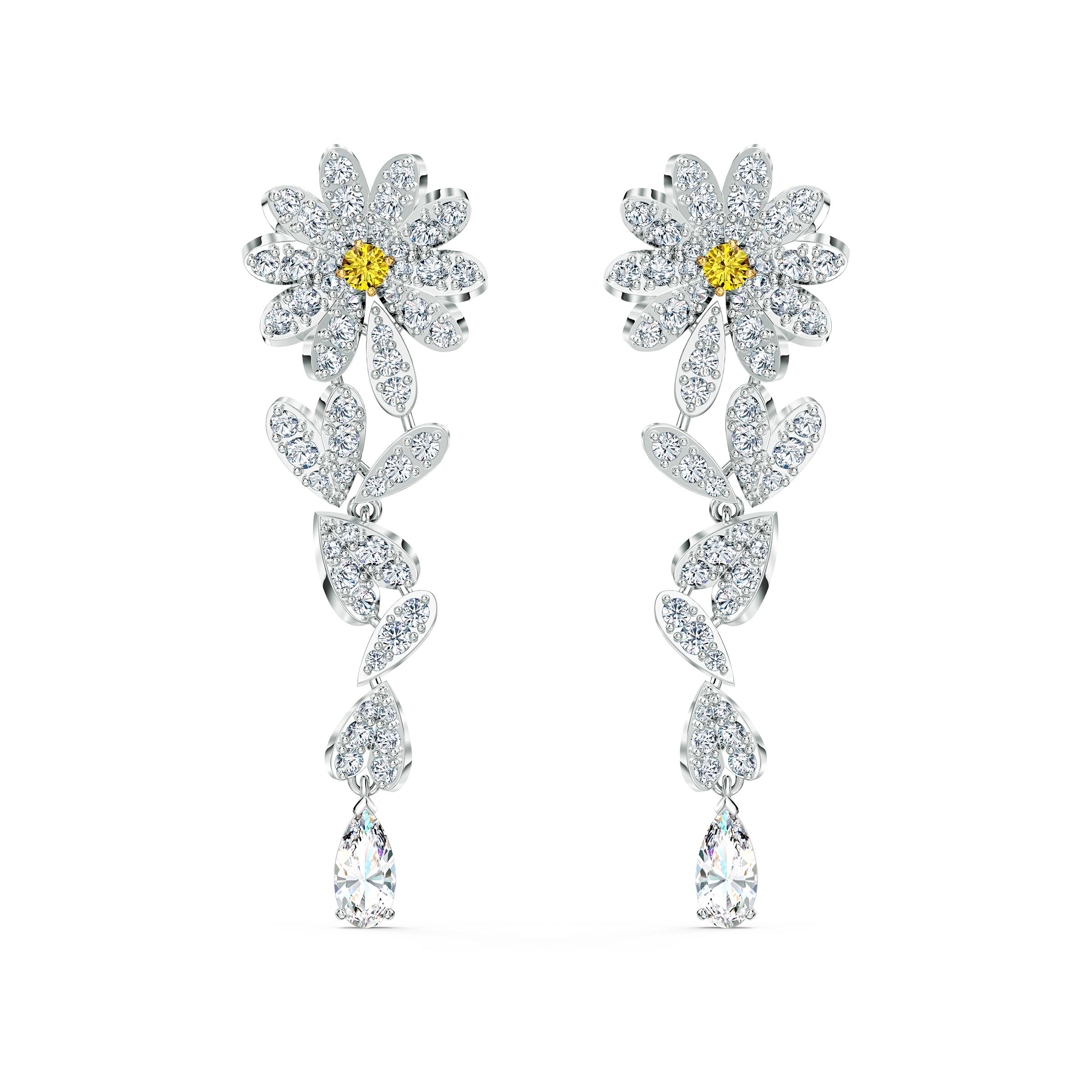 Boucles d'oreilles Eternal Flower, jaune, finition mix de métal, Swarovski