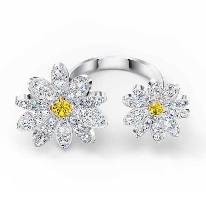 Bague ouverte Eternal Flower, jaune, finition mix de métal, Swarovski