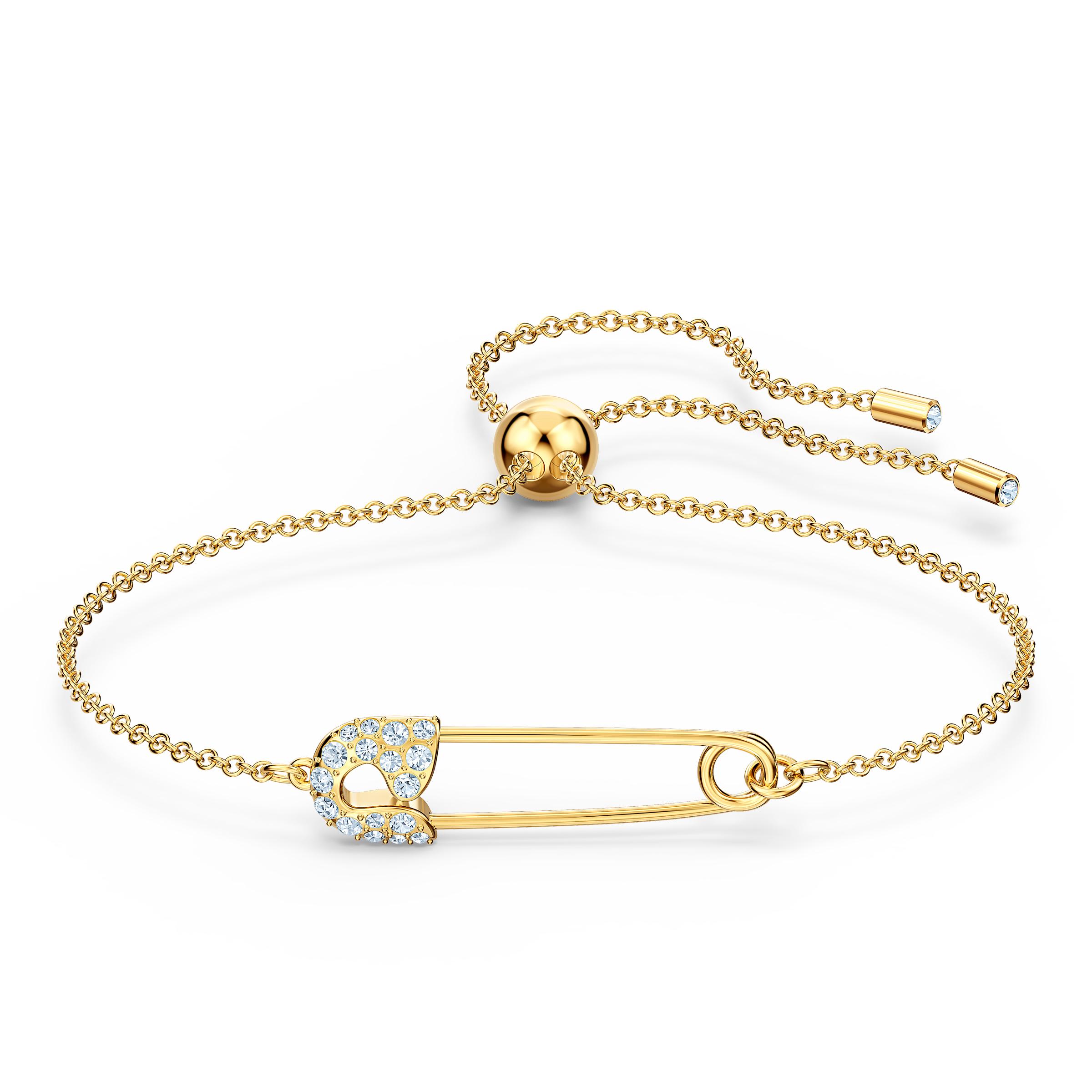 Bracelet So Cool Pin, blanc, métal doré, Swarovski